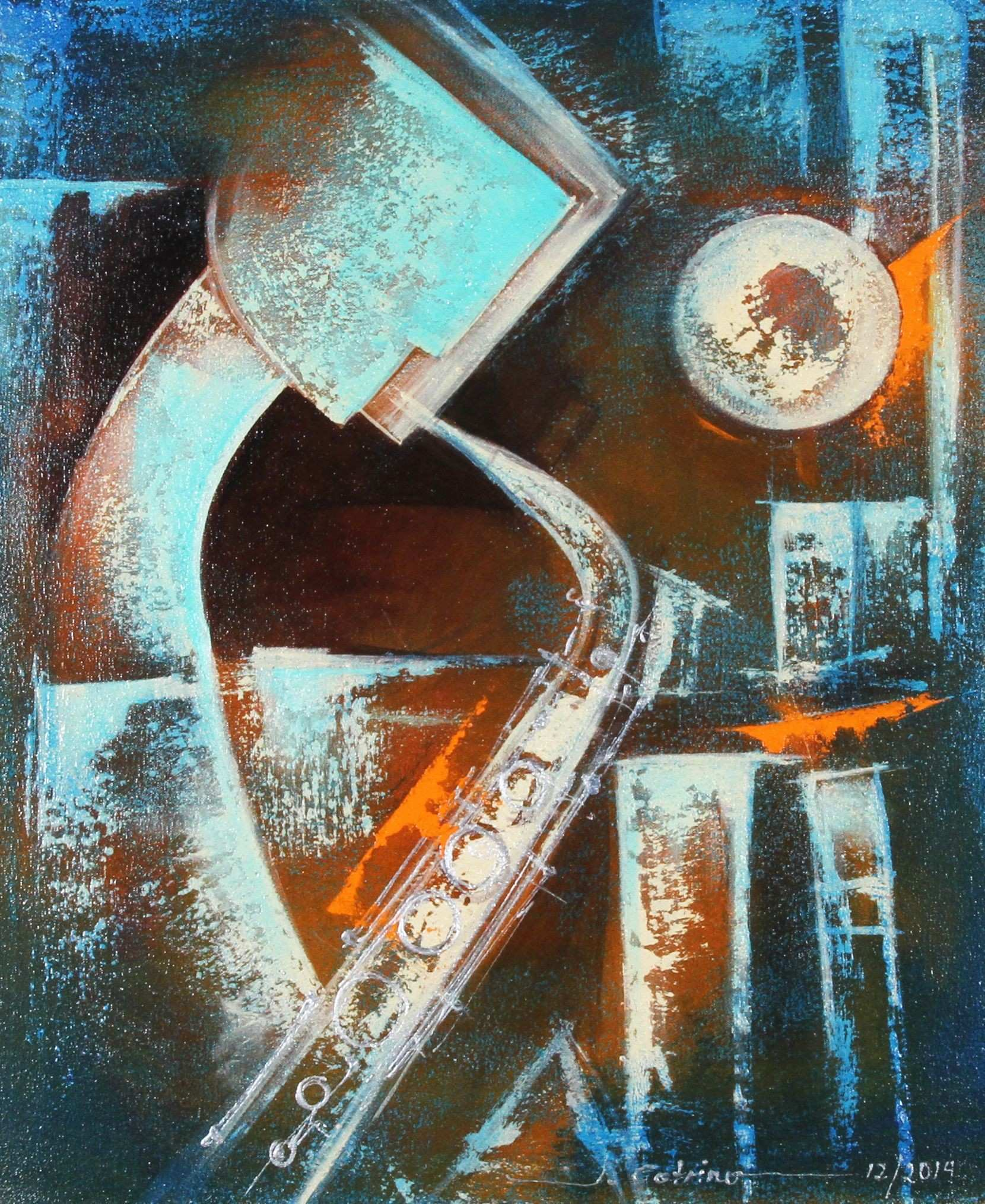 Jazz Player by Juan Cotrino Mixed Media on Canvas Art and Coin TV