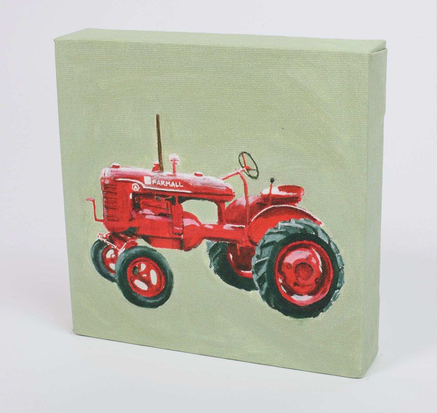 """Children s Wall Art Stretched Canvas Print """"Red Tractor"""
