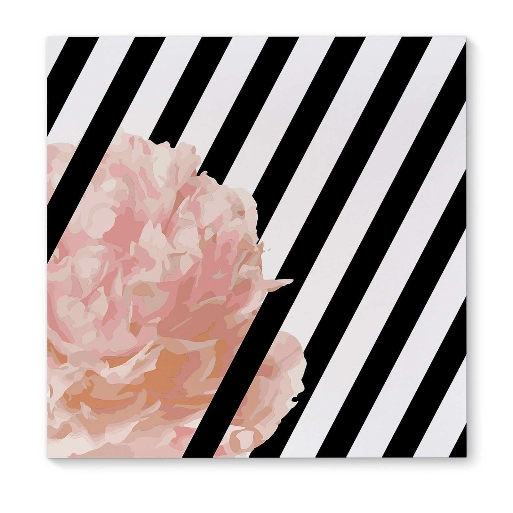 Peony Stripe White Pink Canvas Art Products Pinterest