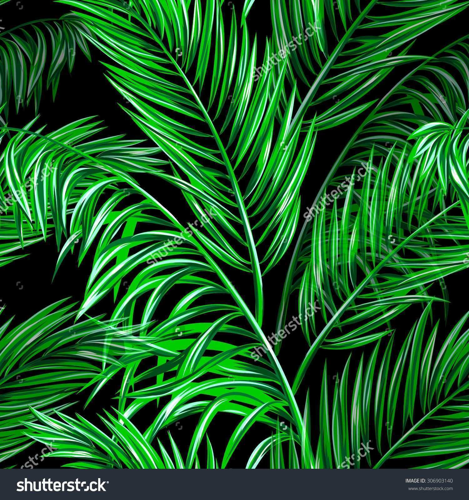 Tropical palm leaves seamless vector jungle floral pattern