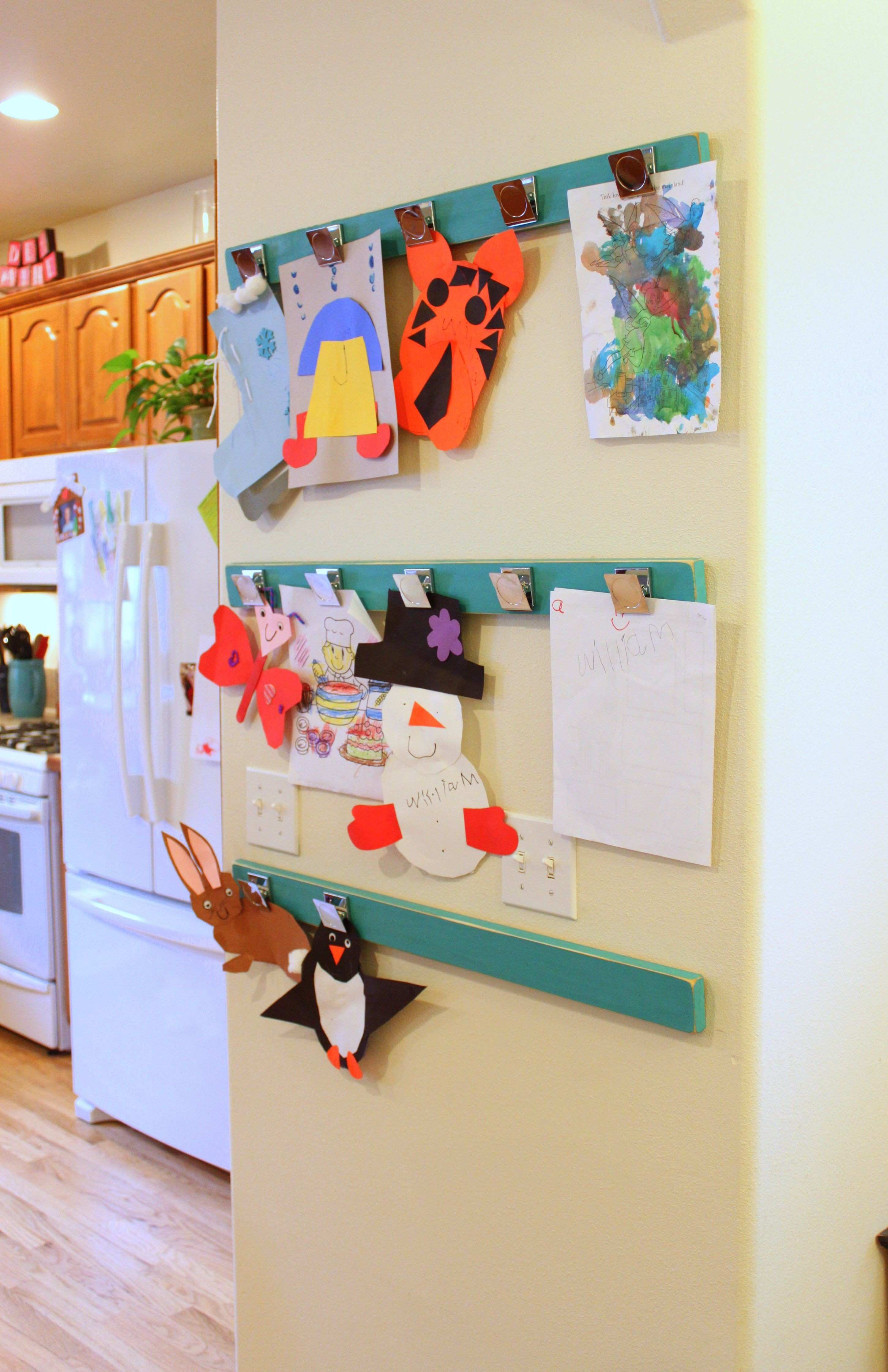 Thanks Pinterest for the inspiration for my kids art display wall