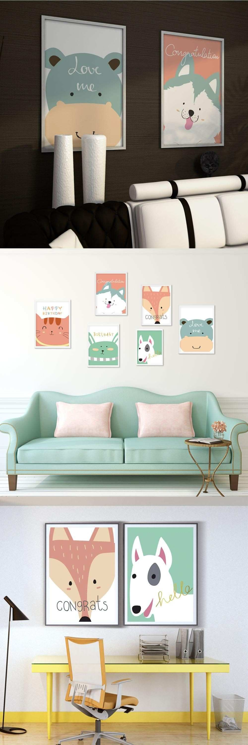 Fashion Simple Hippie Cartoon Pet Cats and Dogs A4 Canvas Art Print