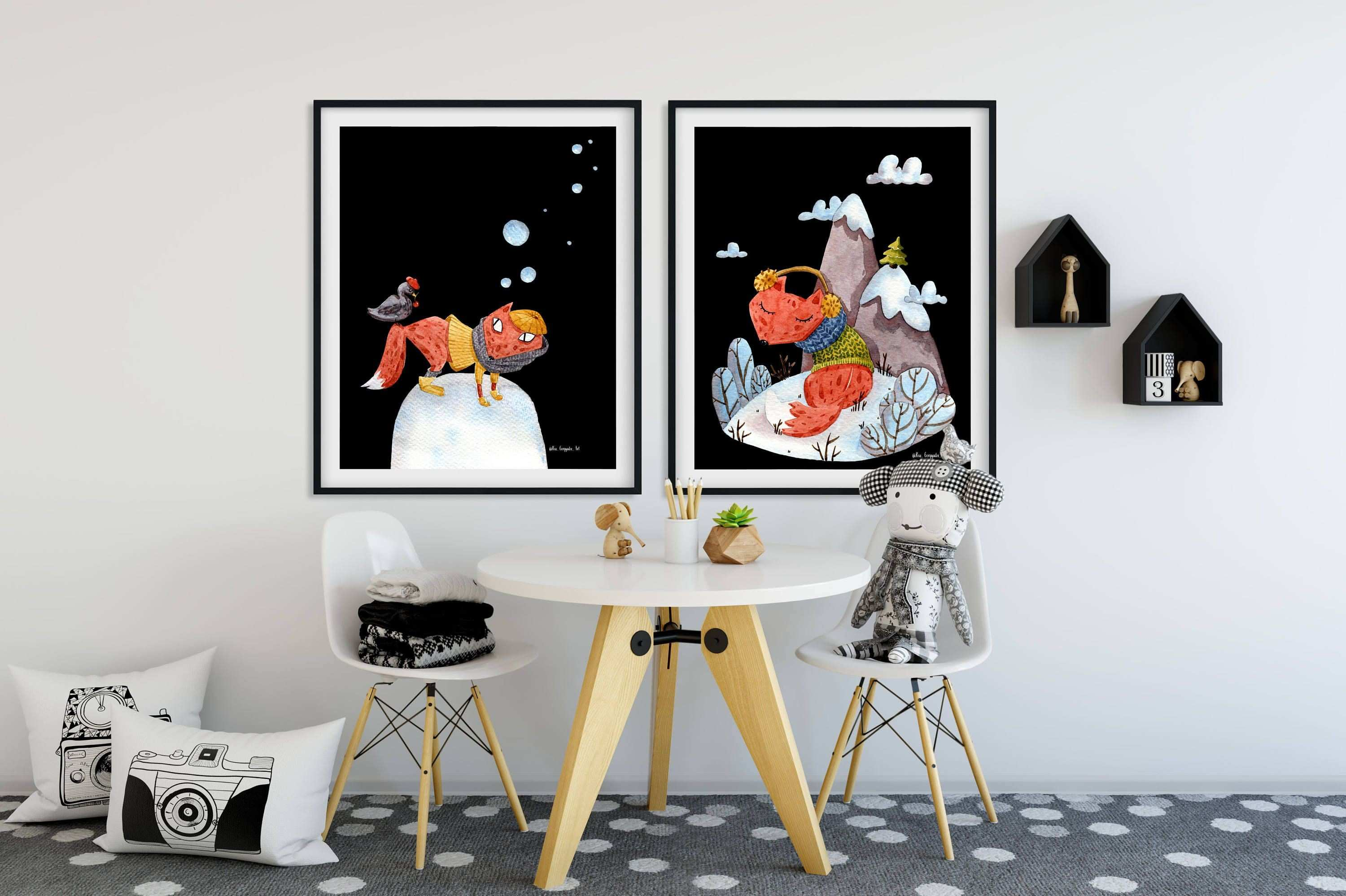 Set of 6 prints posters FOXES Nursery wall art ideas decals kids