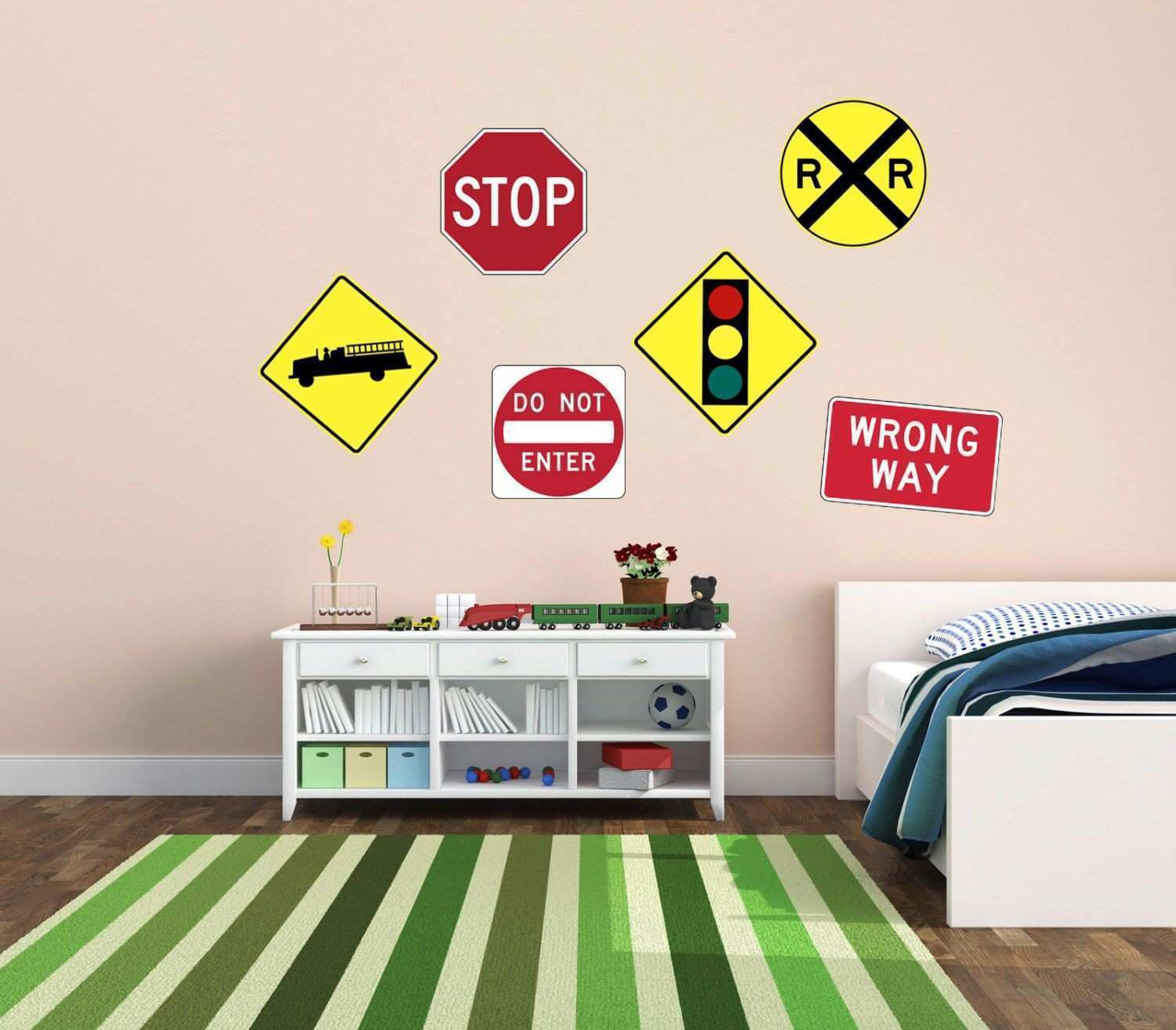 Road Sign Wall Decor Alluring Industrial Interior Feat Brick Wall