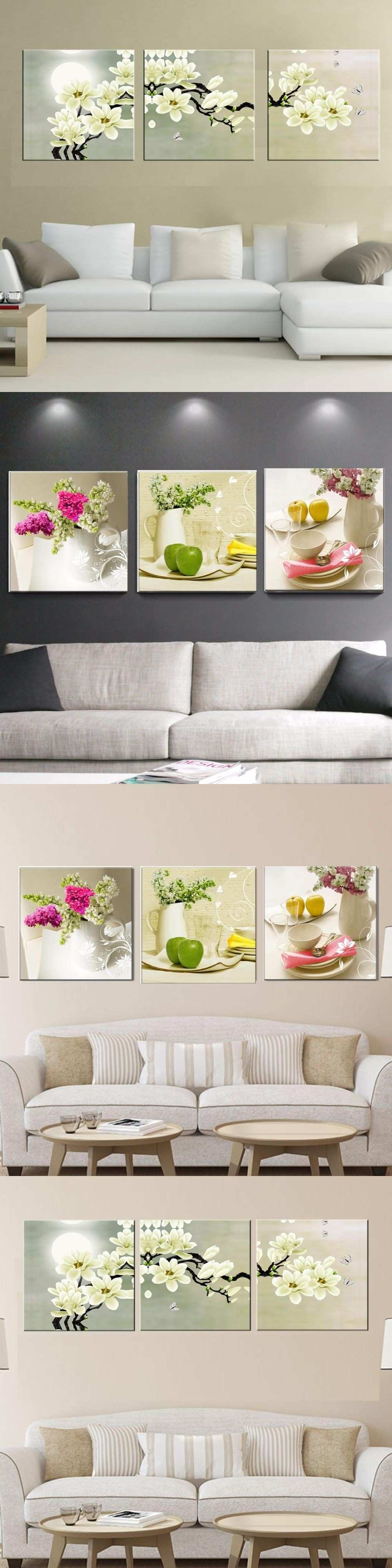 3 Pcs Canvas paintings for kitchen fruit wall decor modern flowers