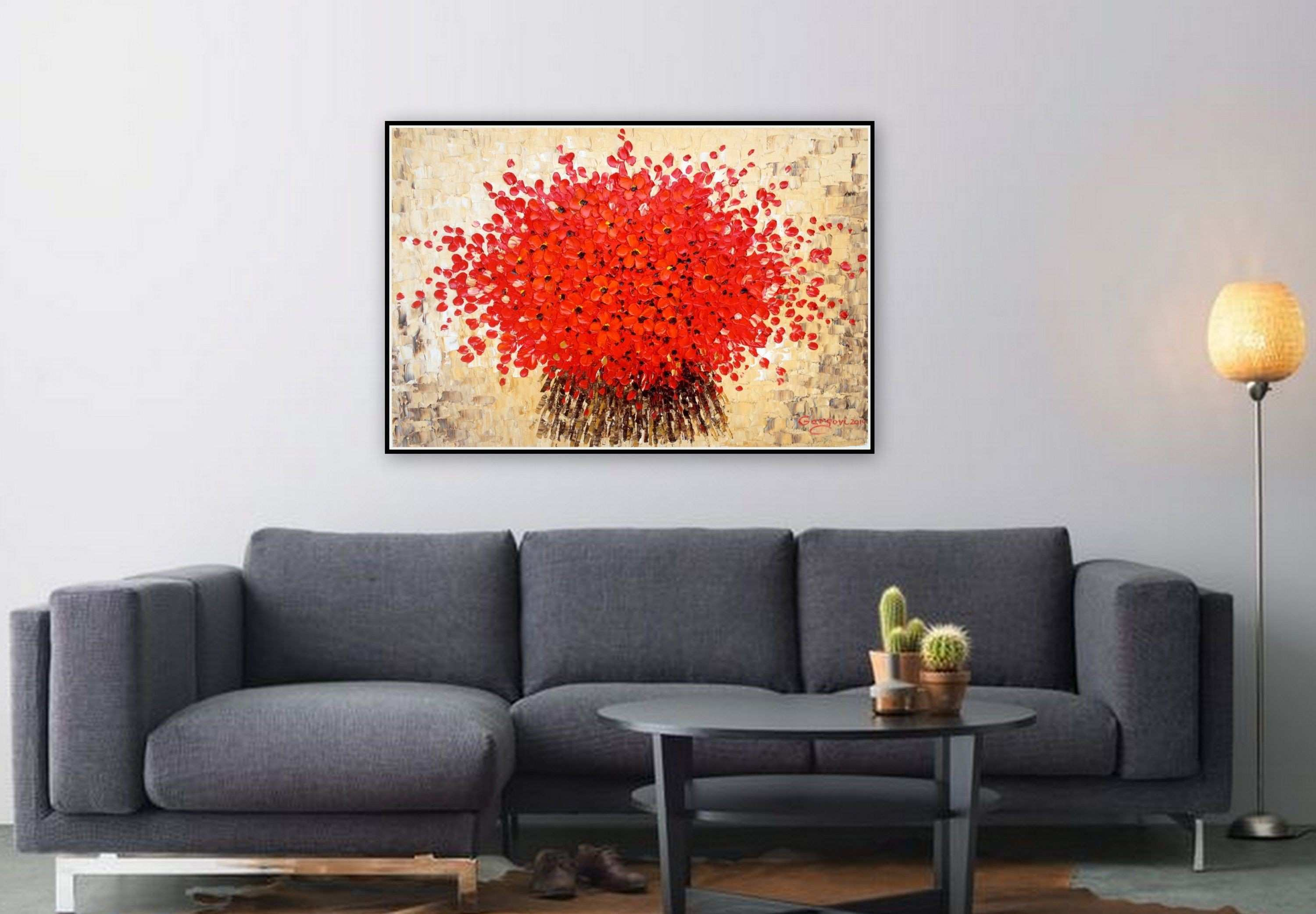 Original Oil Painting Red Flowers Palette Knife Floral Painting