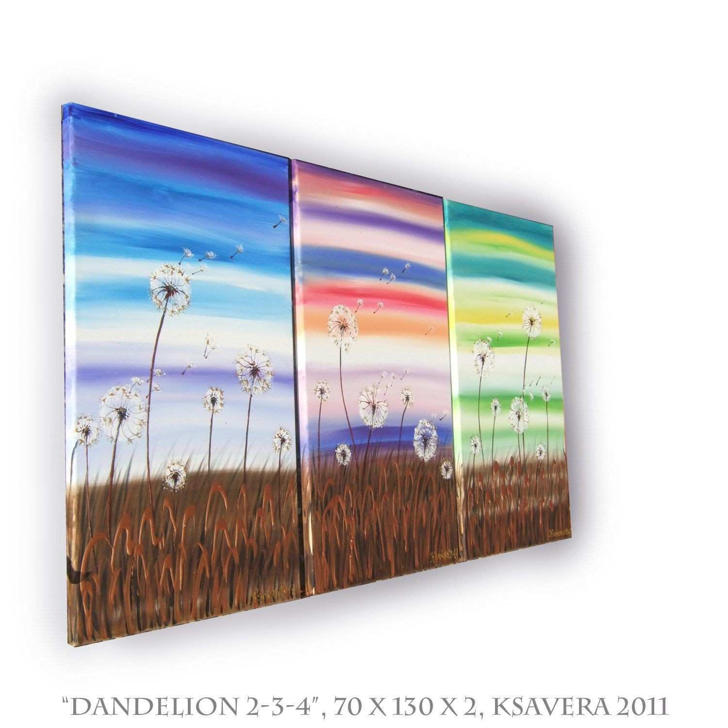 Landscape DANDELION Floral triptych Painting on canvas wall