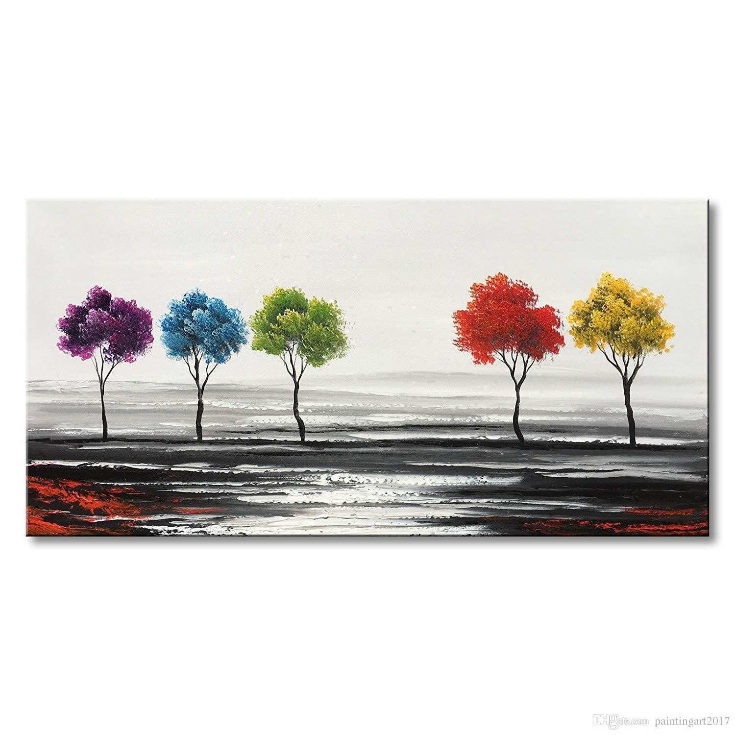 Handmade Colorful Tree Oil Painting on Canvas Hand Painted Modern Abstract Landscape Wall Art Decor Art