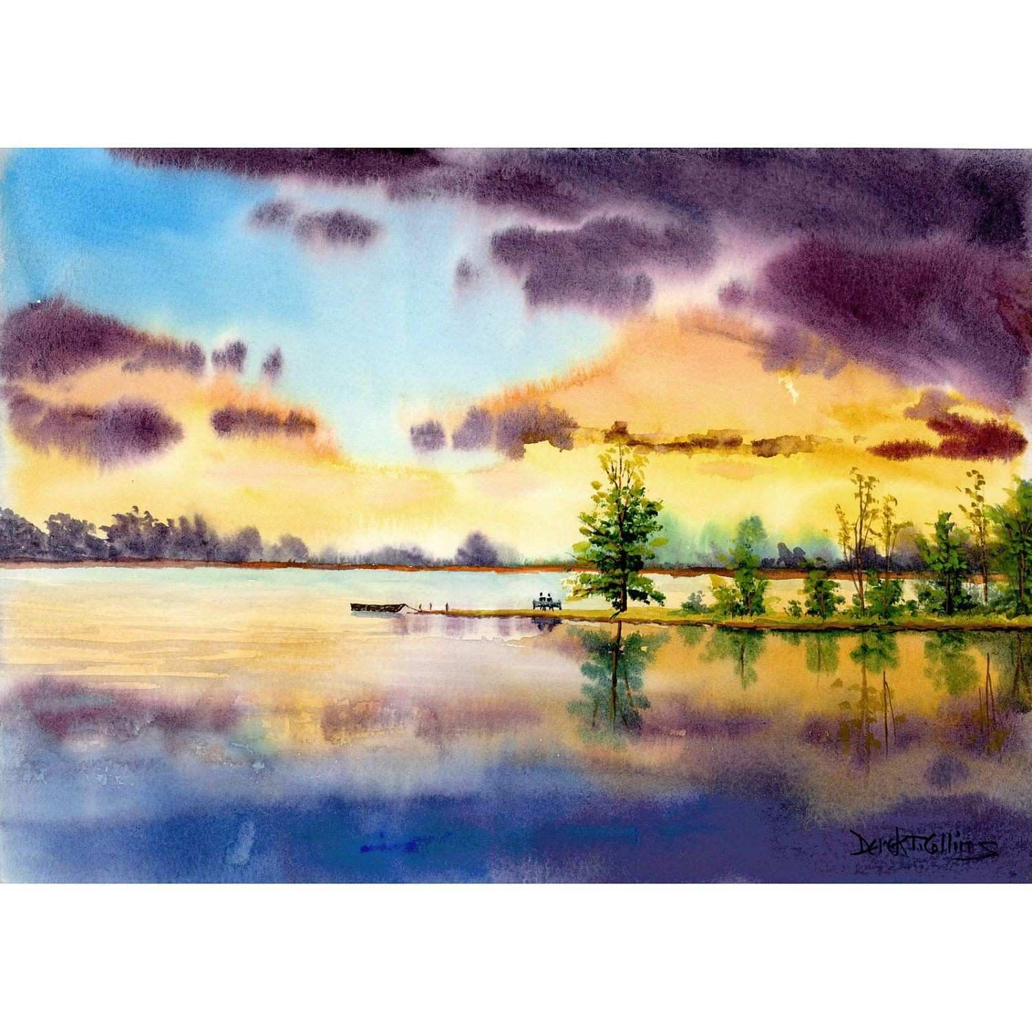 Watercolor Landscape Painting Print Lake LOVERS at sunset Boat