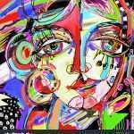 Large Abstract Canvas Art Lovely Original Abstract Digital Painting Human Face Stock Vector Of Large Abstract Canvas Art
