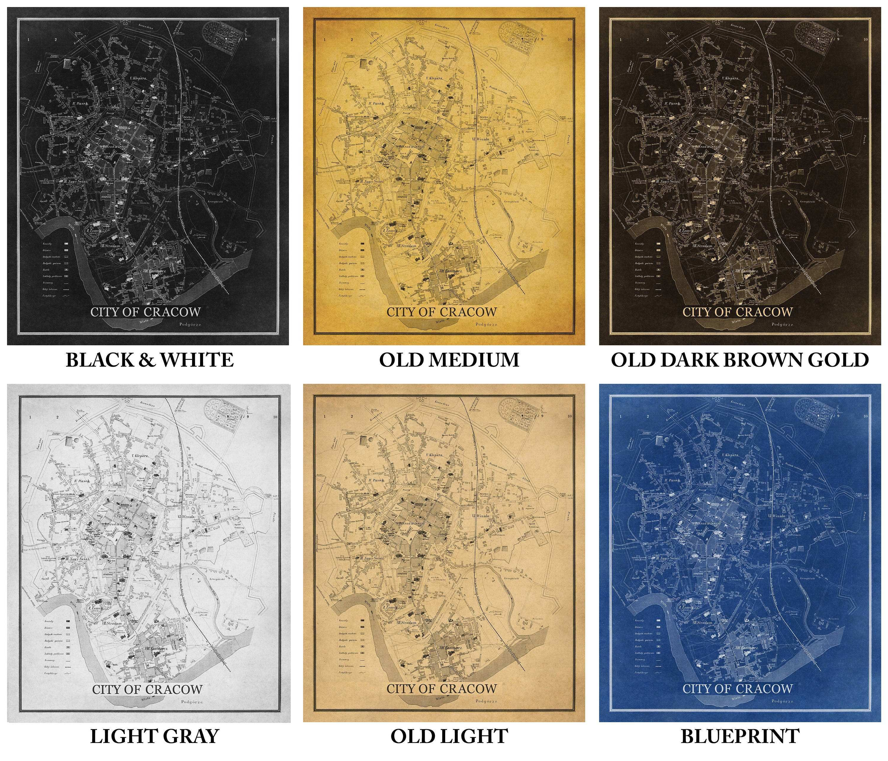 Old Map Cracow on Paper or Canvas print or gallery wrap 6