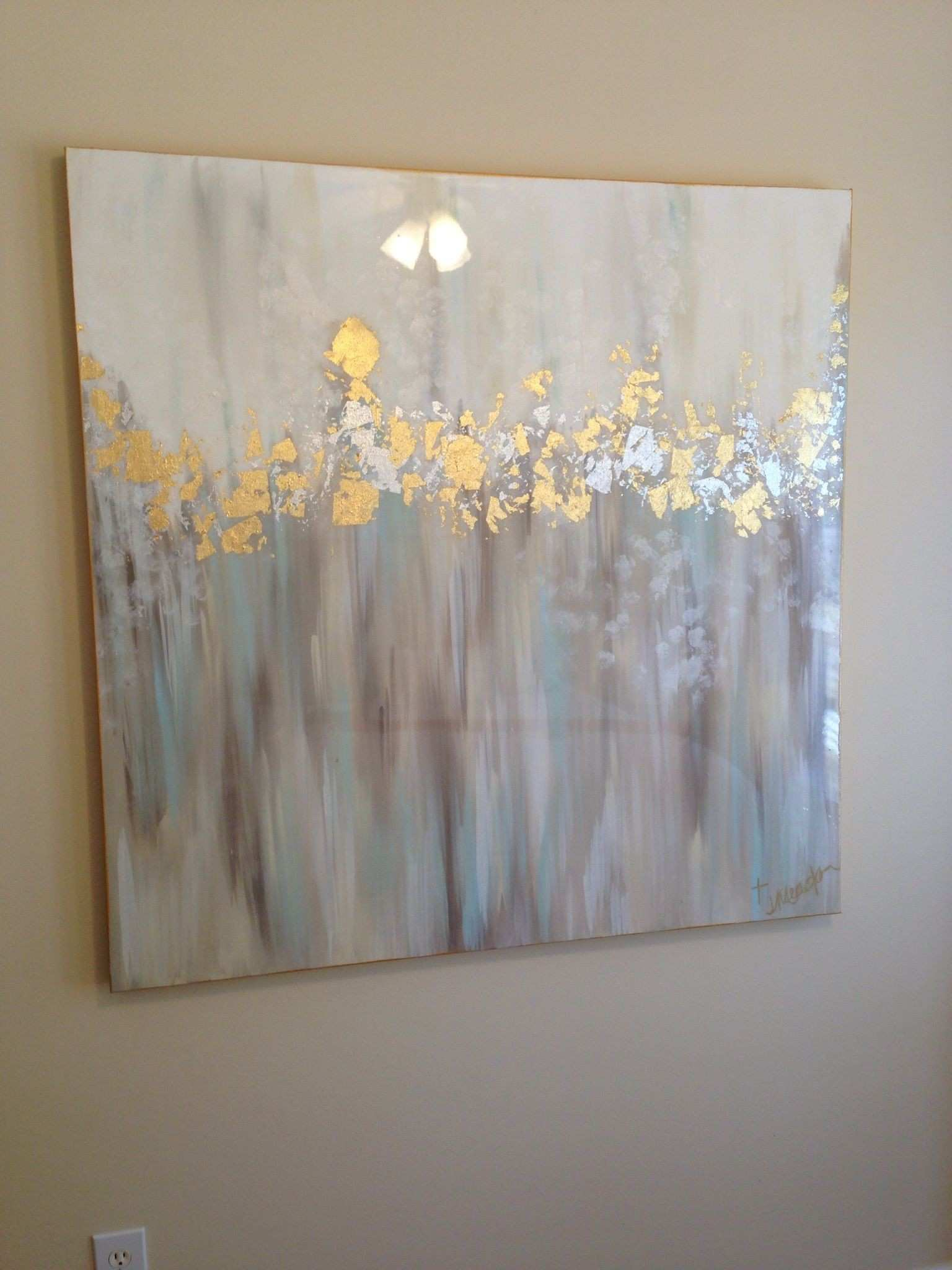 White gray blue gold and silver abstract art 48x48 by Jenn Meador