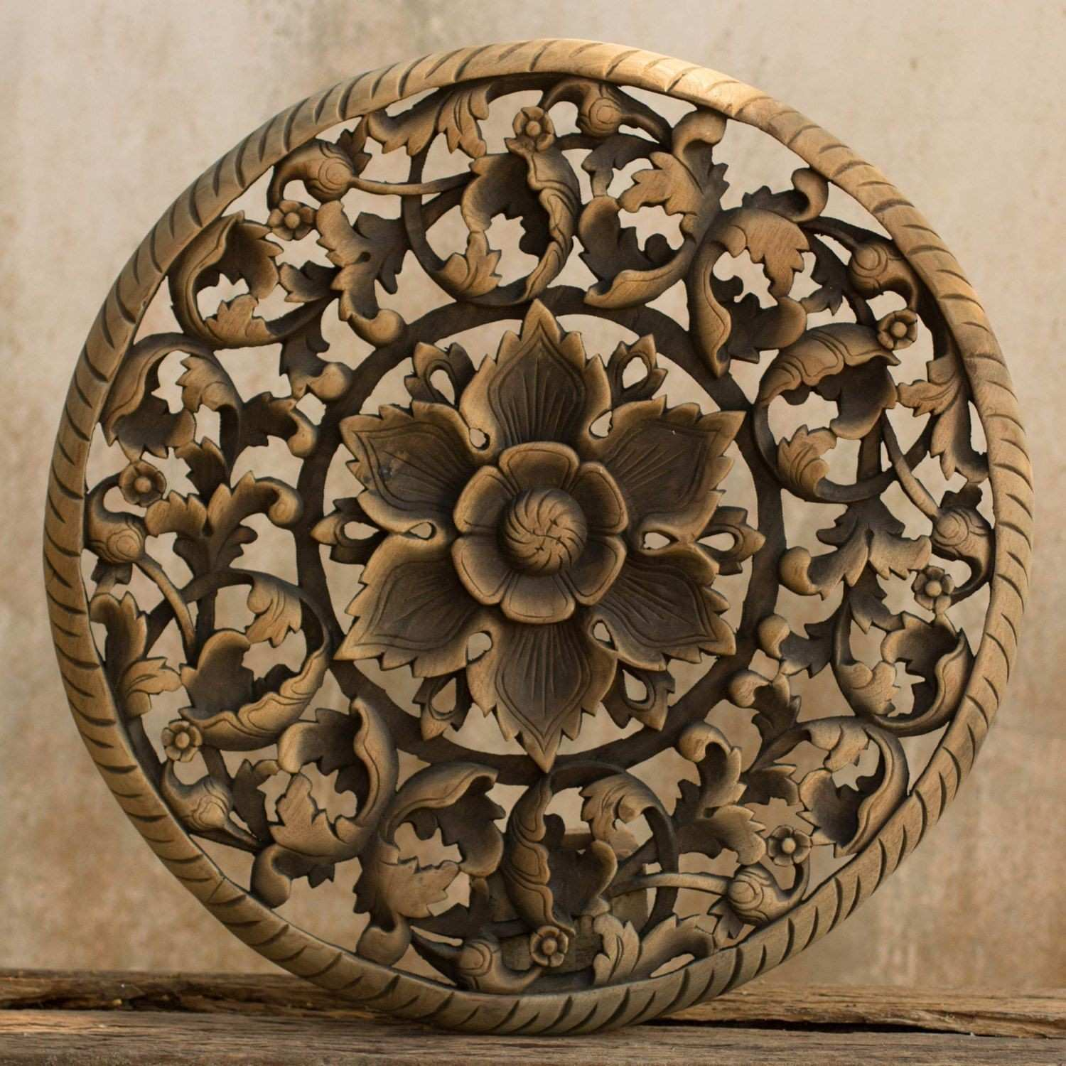 Headboard Hand Carved Panel Carving Teak Wood Wall Art From