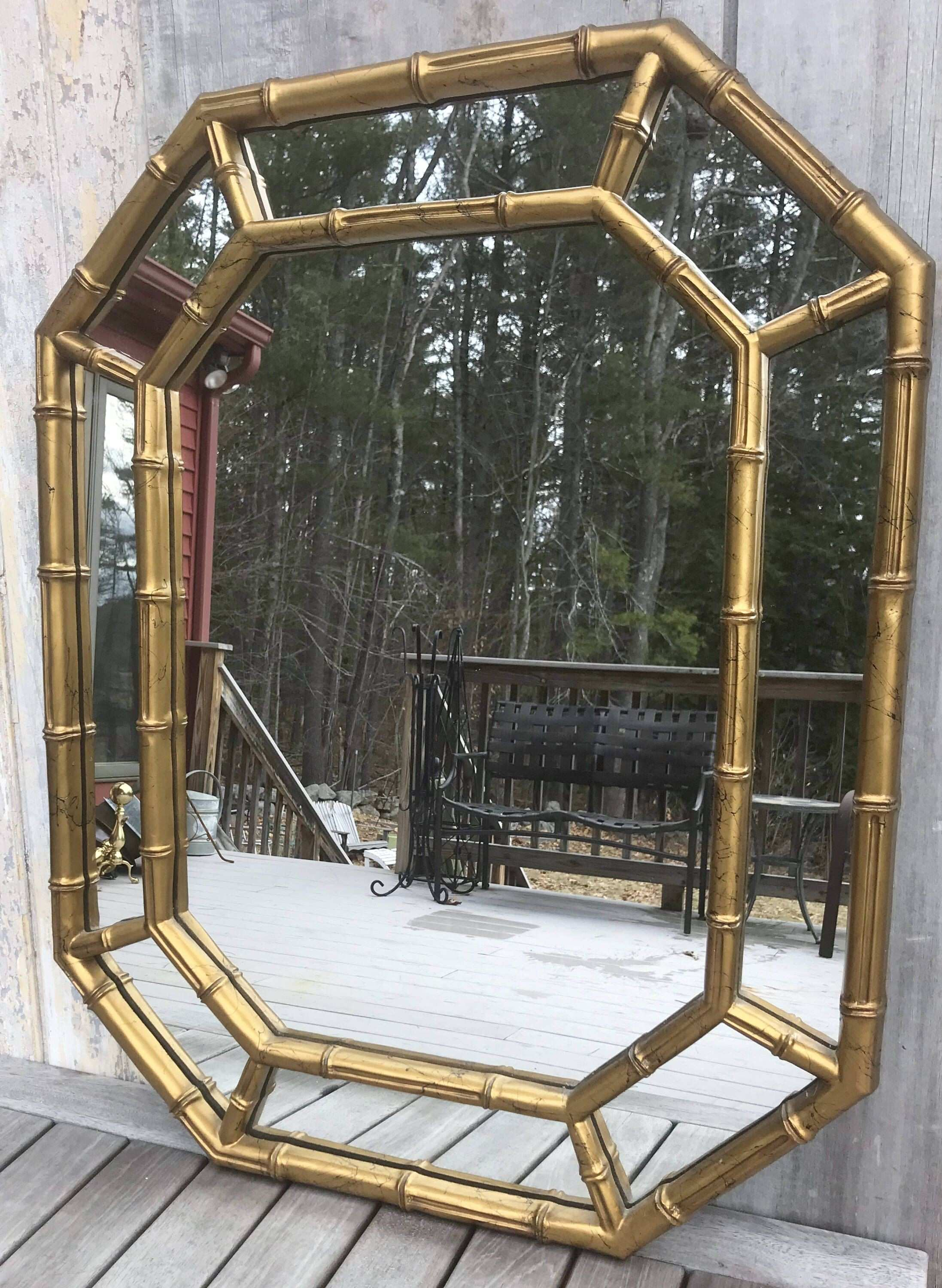 Vintage Mid Century La Barge Gold Giltwood Faux Bamboo Mirror