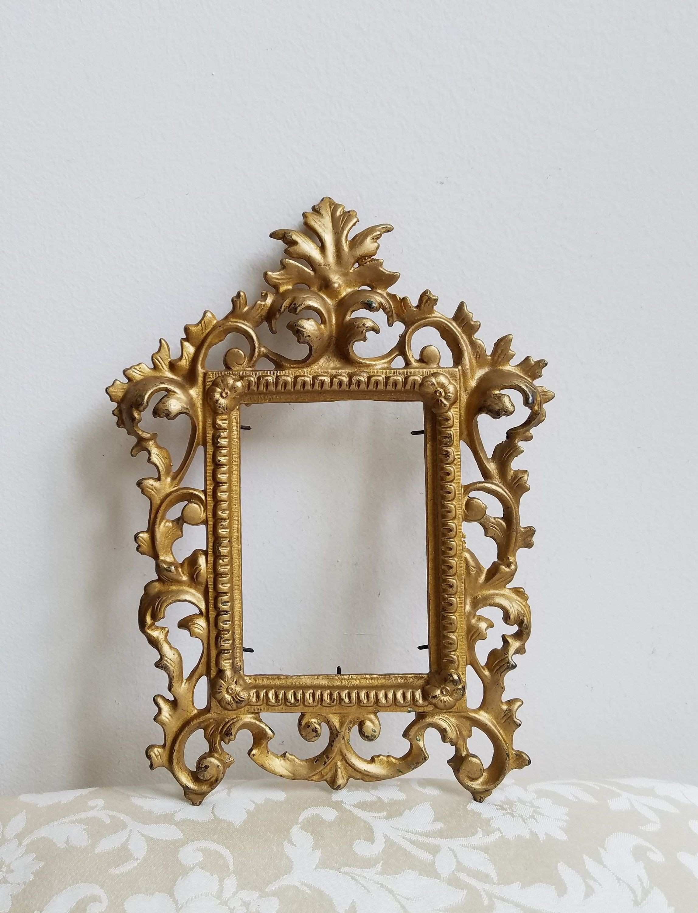 Vintage Ornate Gold Picture Frame Heavy Cast Metal With Fleur de Lis