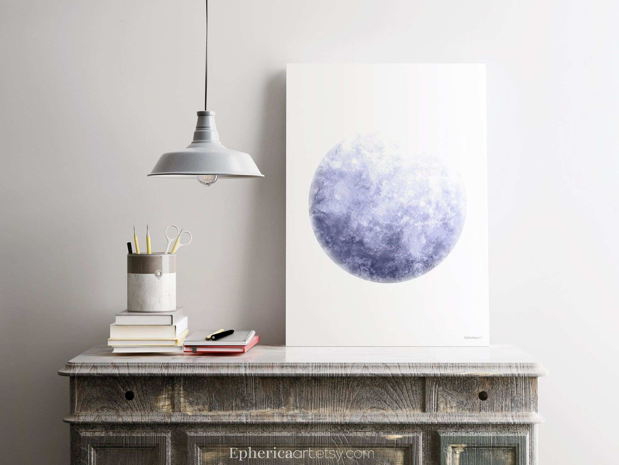 Blue gray moon poster A1 PRINTABLE Moon Poster Minimalist Poster