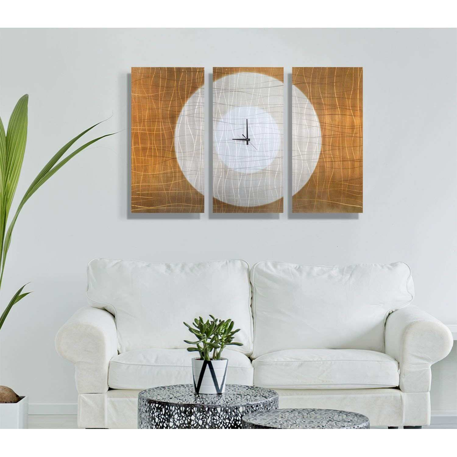 Amazon Gold Abstract Metal Wall Clock Handcrafted