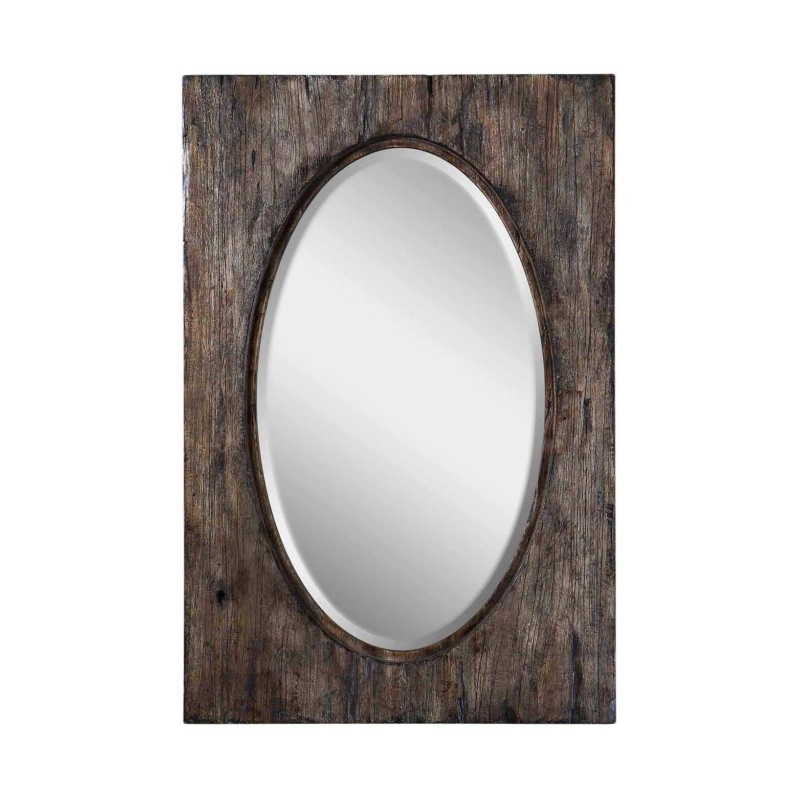 Oval Hitchcock Distressed Decorative Wall Mirror Wood Finish