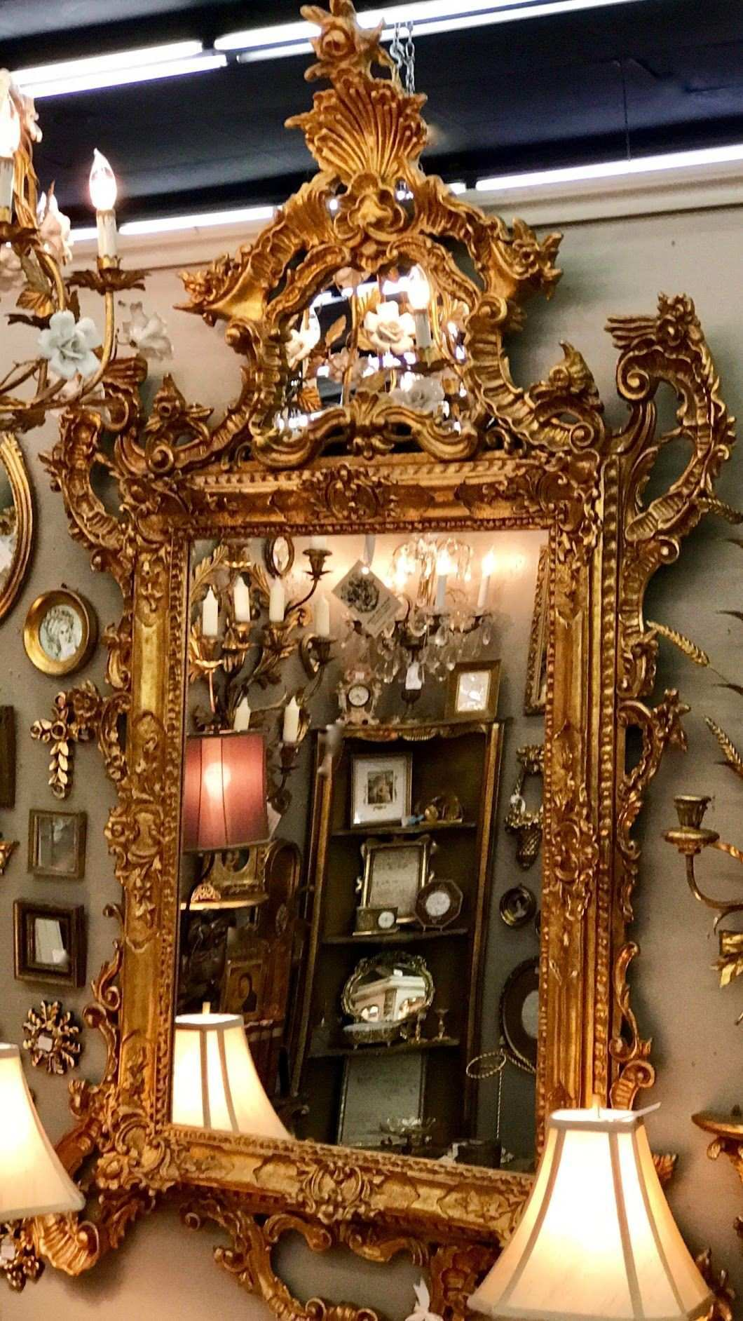 Very Vintage Gilt Gold Ornate Italian Mirror Outside