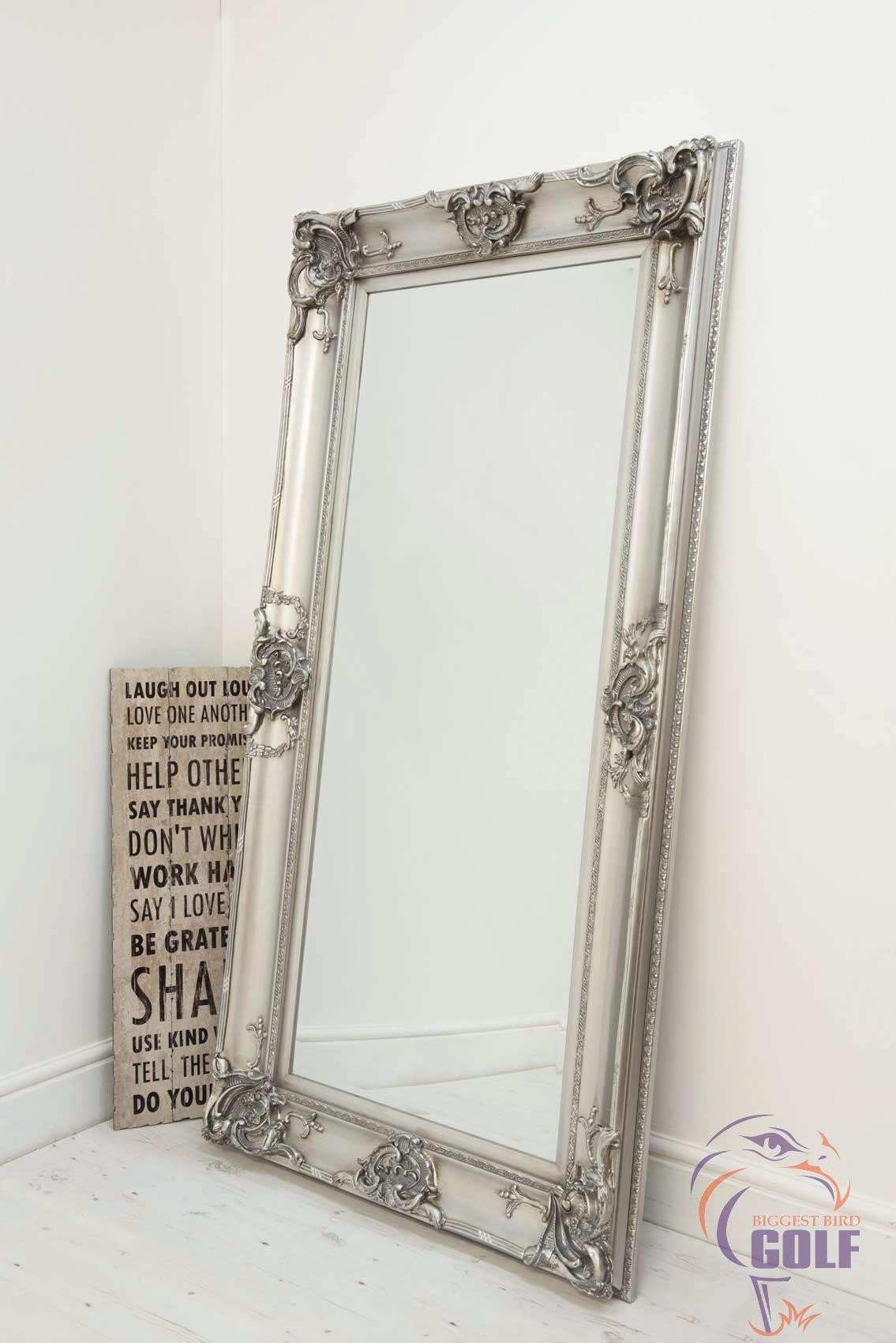 BEAUTIFUL LARGE SILVER DECORATIVE ORNATE WALL MIRROR 6FT X 3FT 183 X