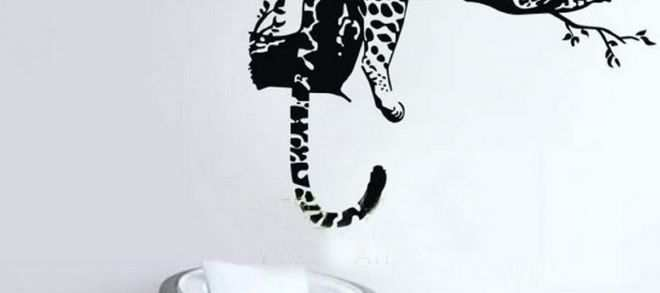 Large Paw Print Wall Decals Elegant Animal Wild Zoo Leopards Cheetahs Tail Wall Decal Sticker Living