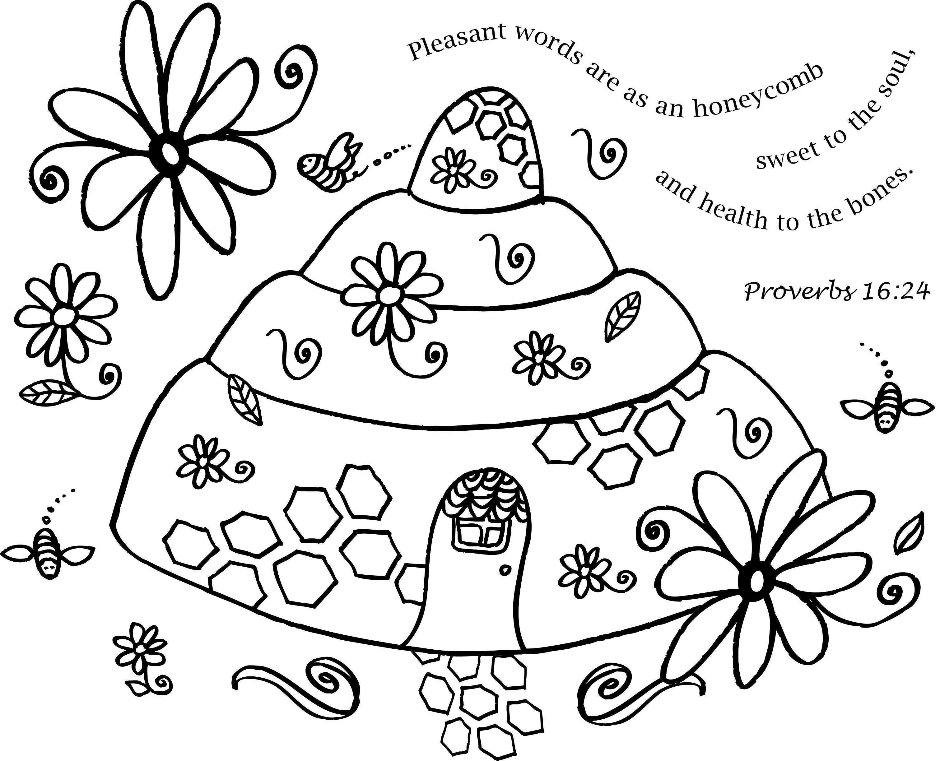 Beehive Coloring Page With Stencil Designs For Walls And Crafts