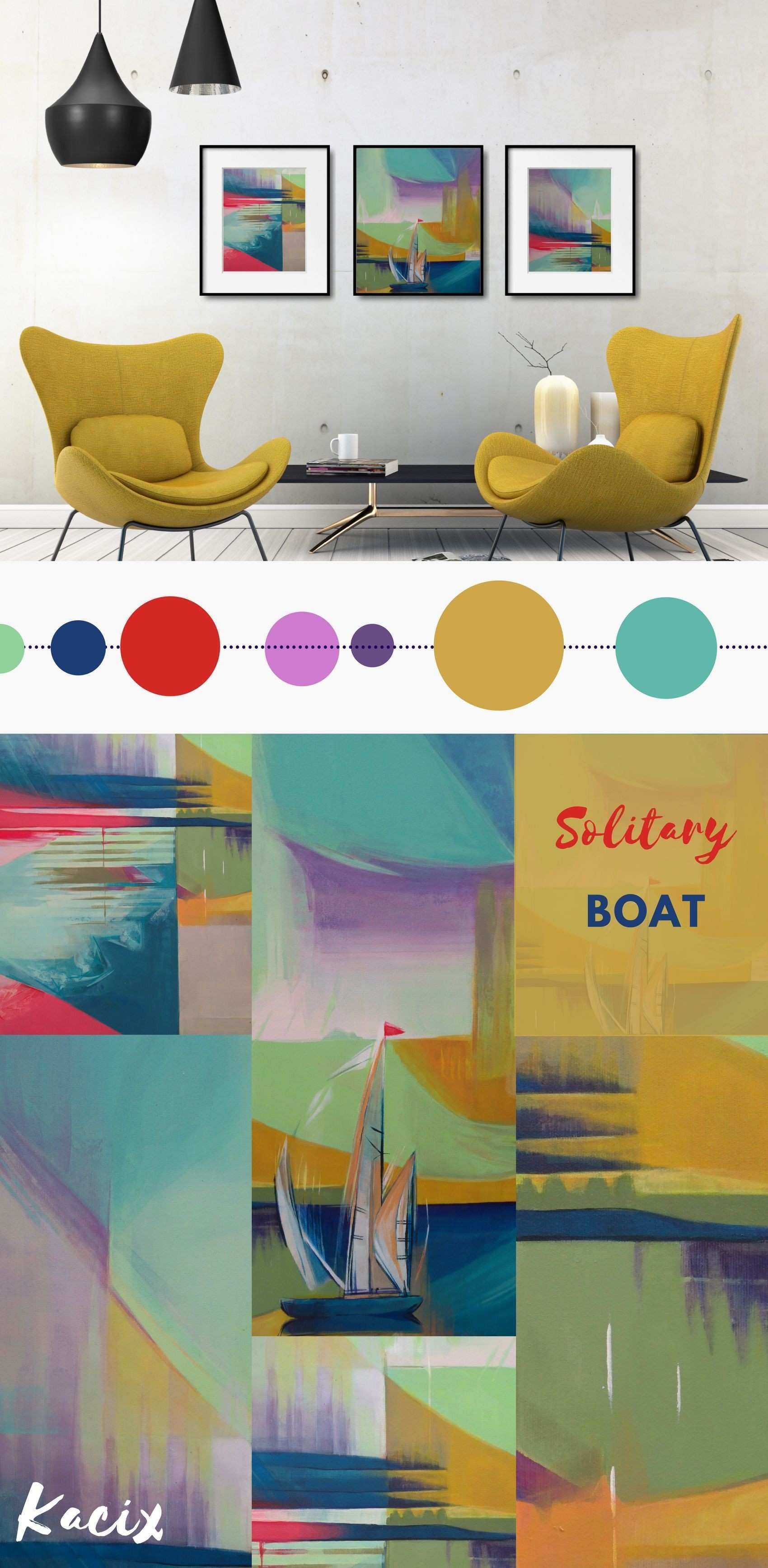 Abstract art print set for a modern living room or office Get