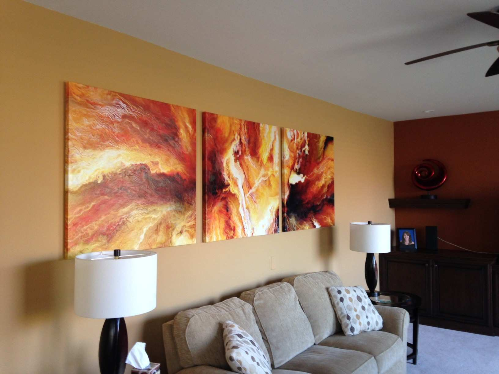 3 panel large abstract painting art canvas print triptych living room