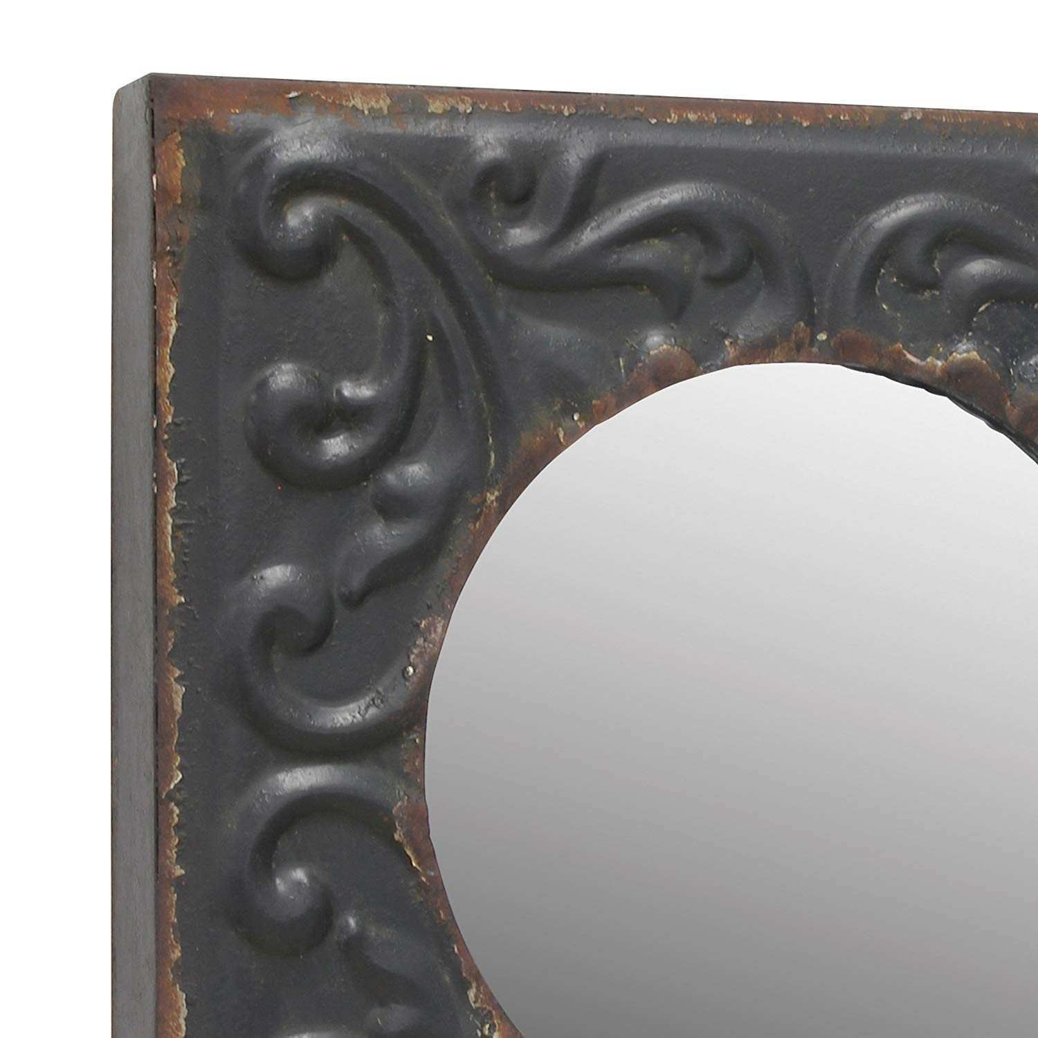 Amazon Stonebriar Round Mirror with Distressed Square Metal Tin