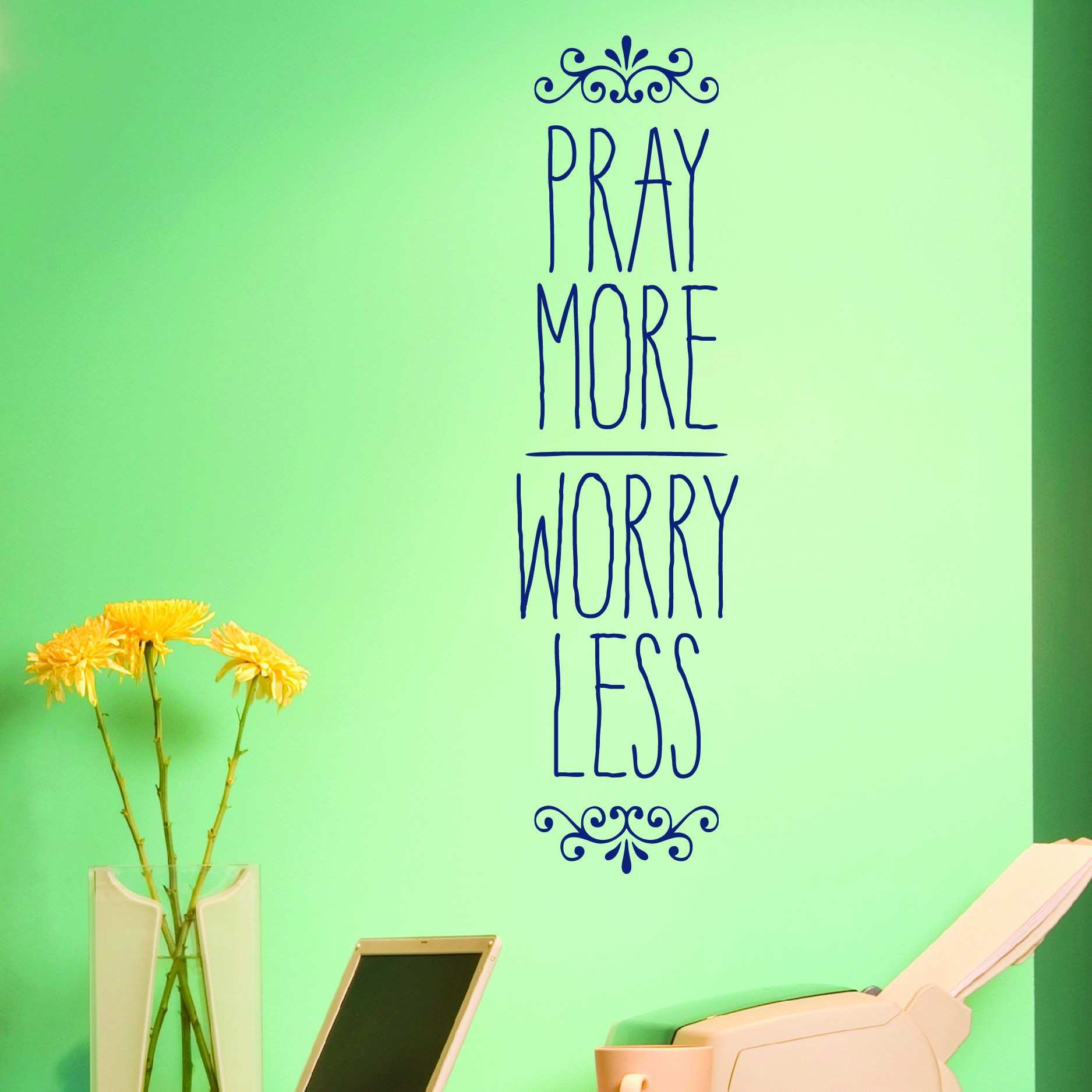 Discount NAVY BLUE Pray More Worry Less Wall Decal