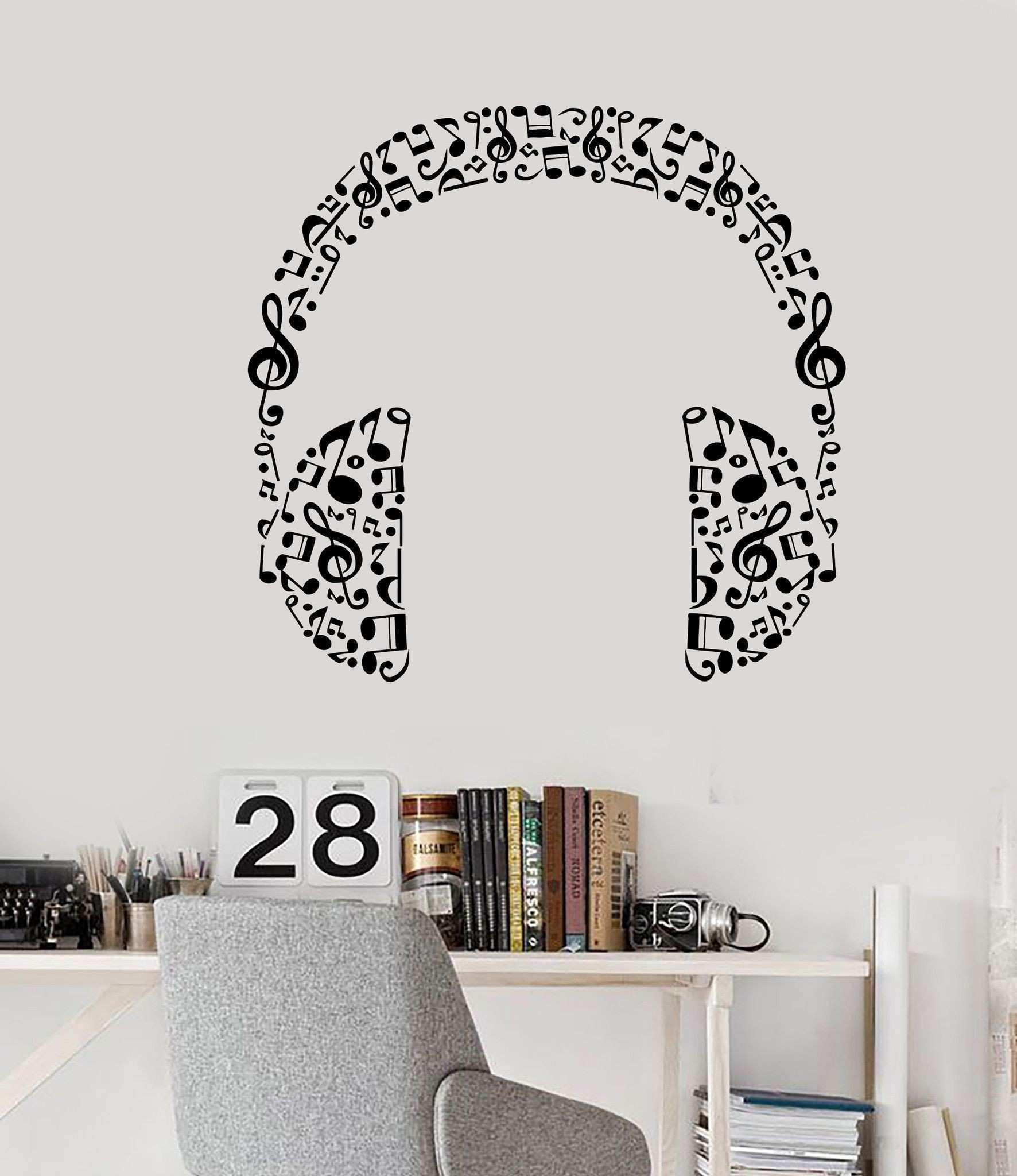 Leopard Print Decals for Walls Beautiful Vinyl Wall Decal Headphones Music Musical Room Art Stickers Unique