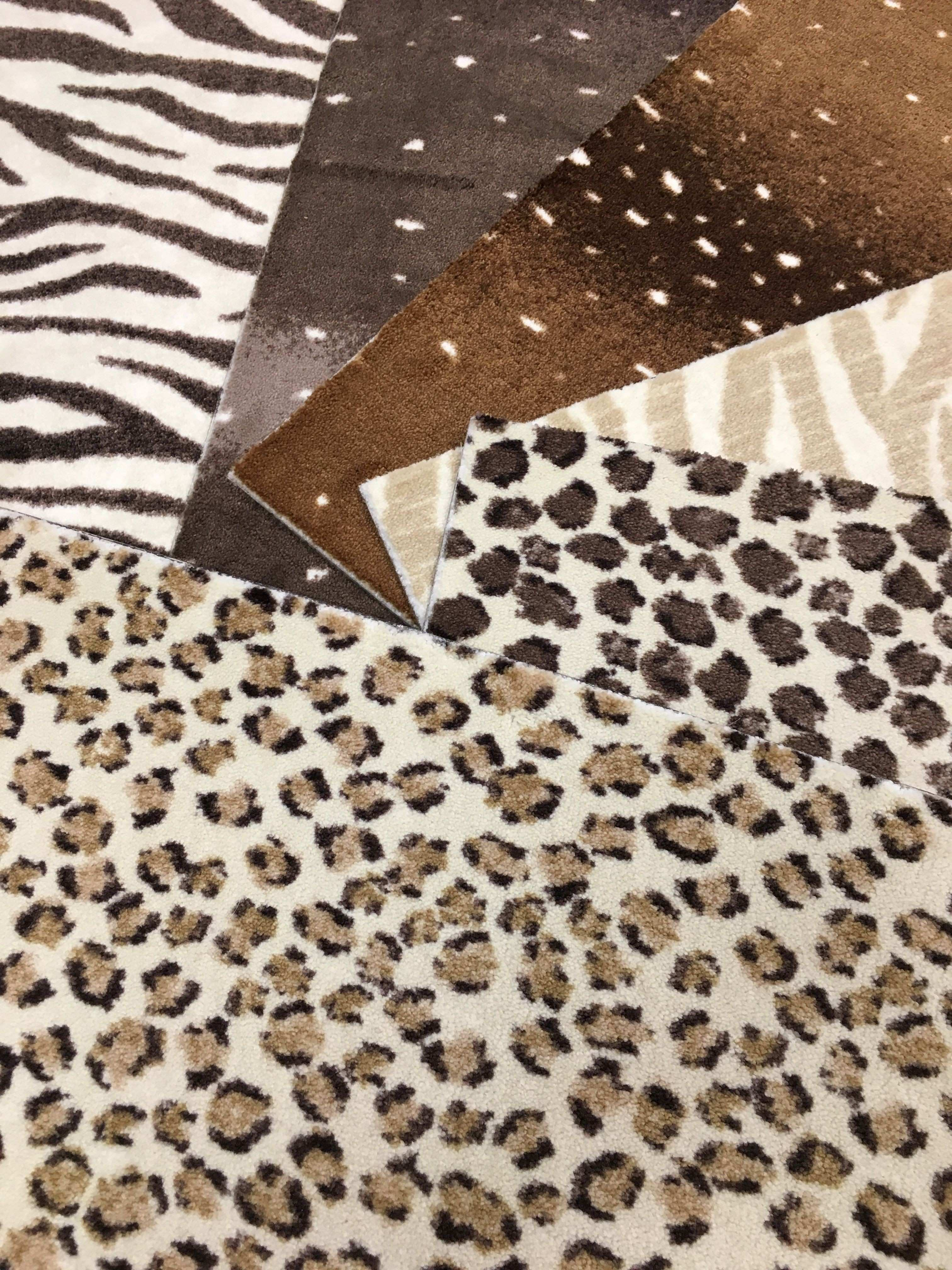 These nylon animal patterned pieces can be installed wall to wall