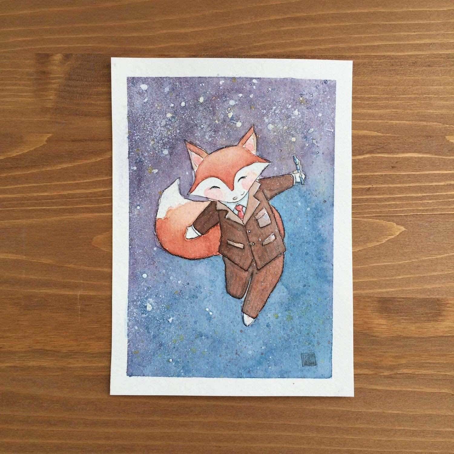 Fox Doctor Who Watercolor Print 5x7 by Kendra Minadeo Limited