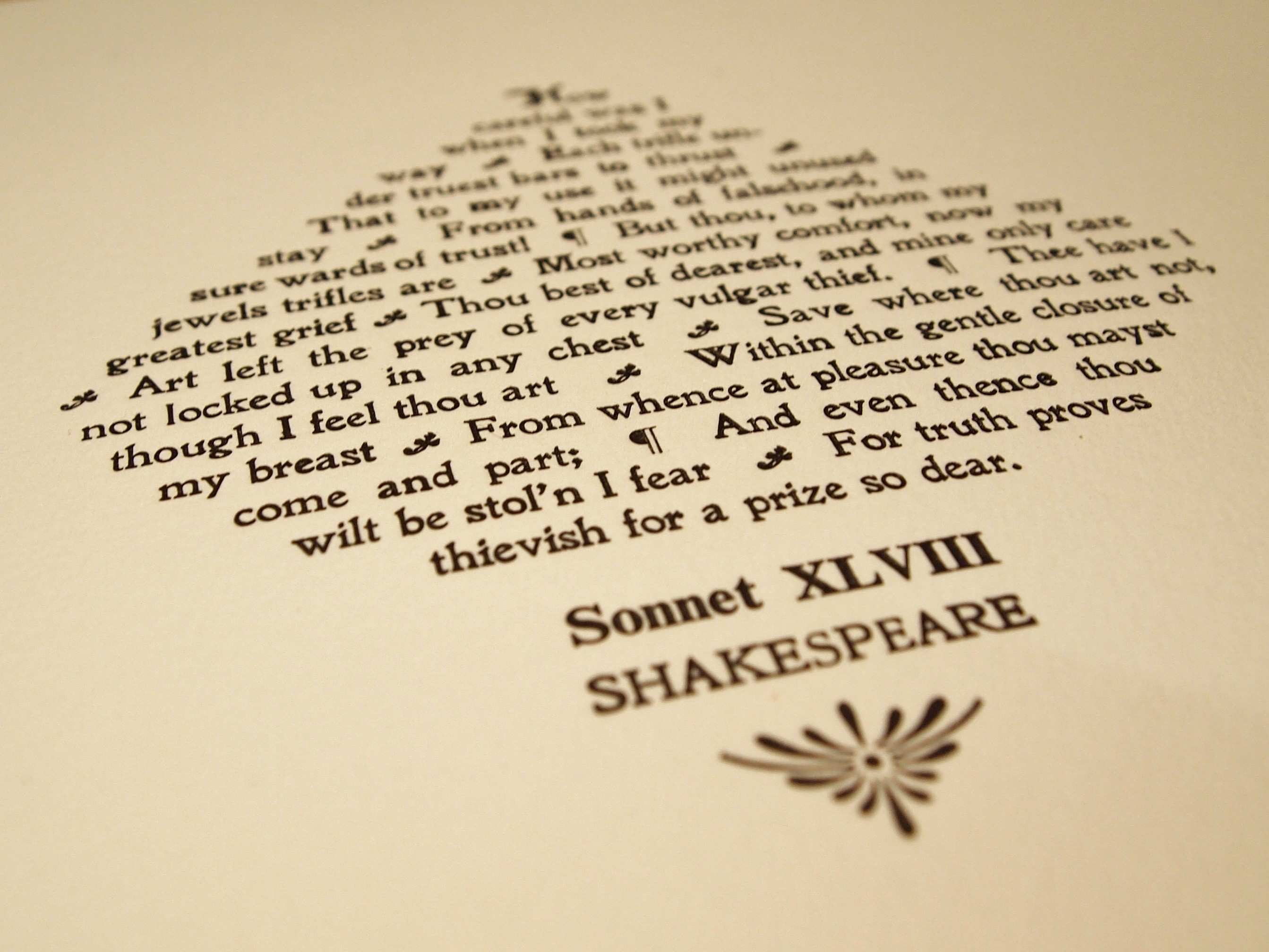 Shakespeare Sonnet XLVIII 48 Print – Limited Edition – The
