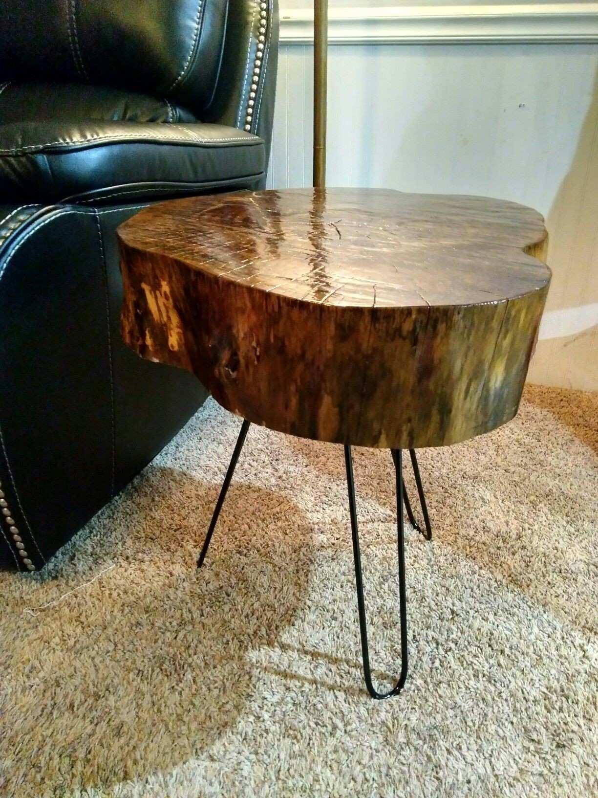 Live edge wood slab end tables americanmadewoodco