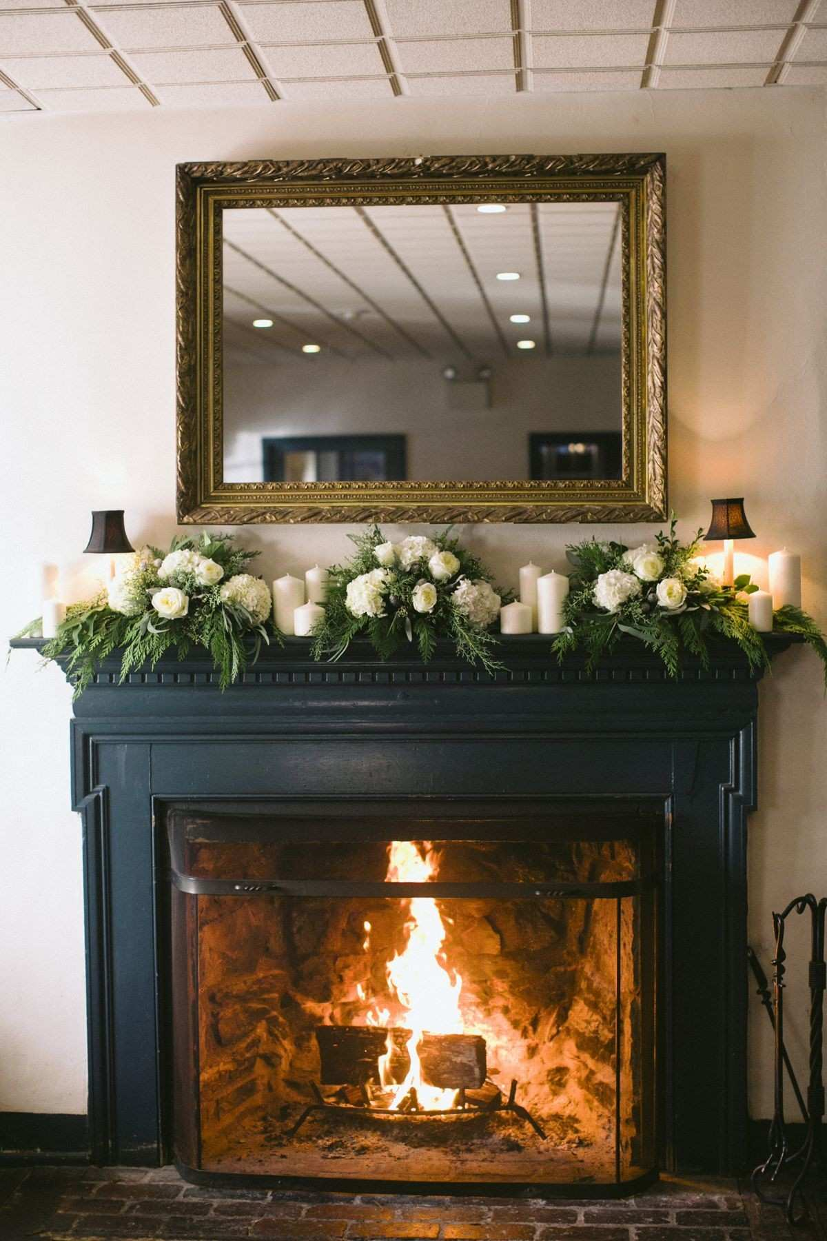 White and Green Mantel Garland Pinterest