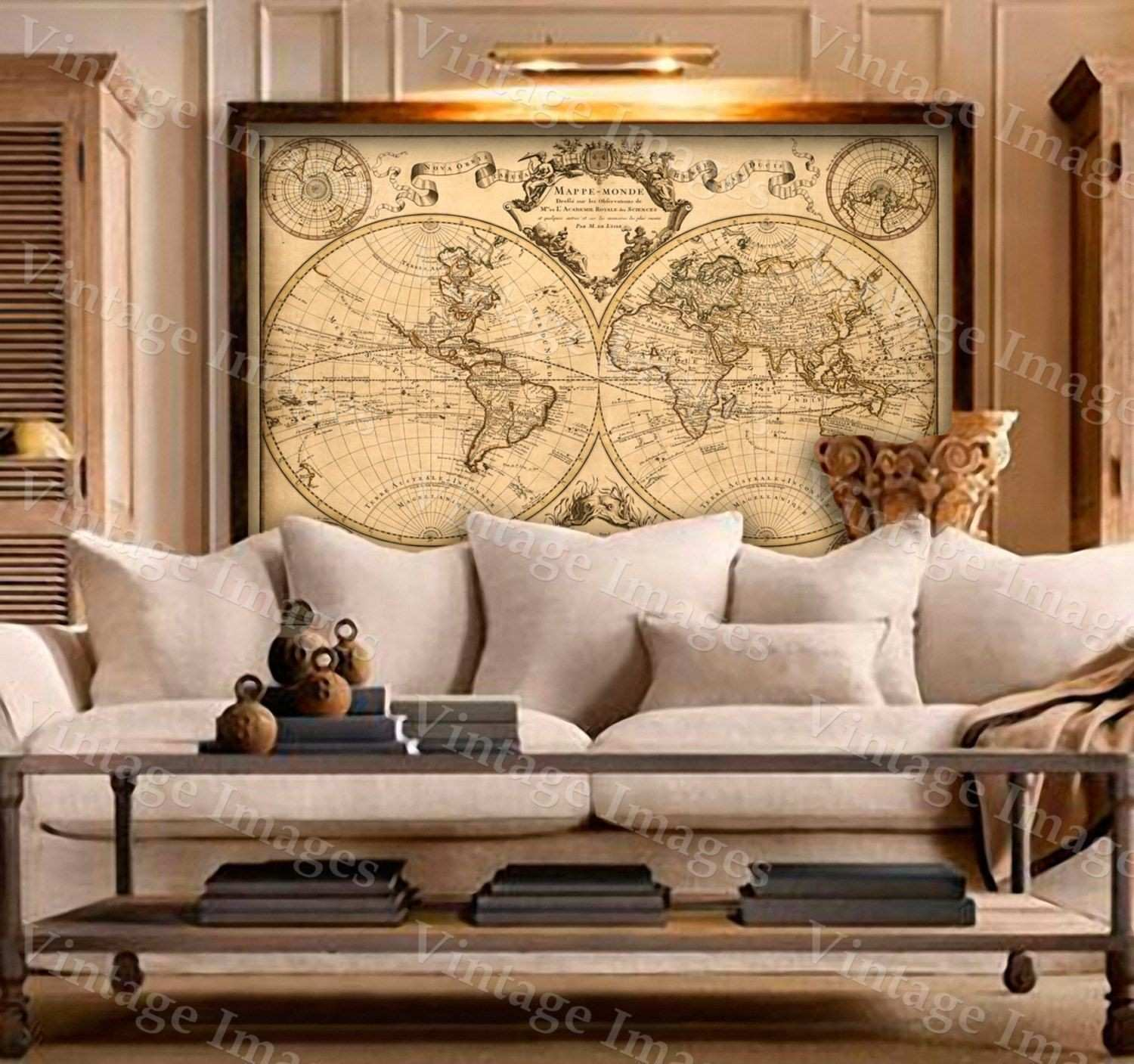 1720 Old World Map map art Historic Map Antique Style World Map wall