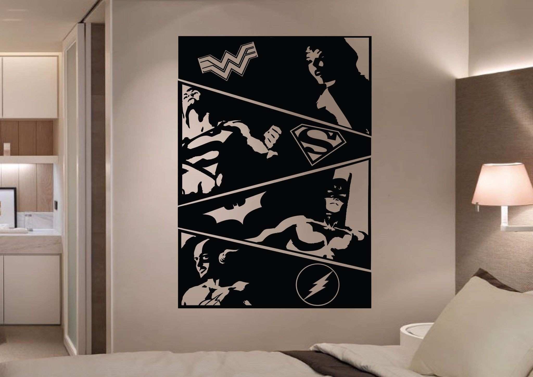 The Justice League ic Strip 4 Panel Wall Art Stickers is a simple