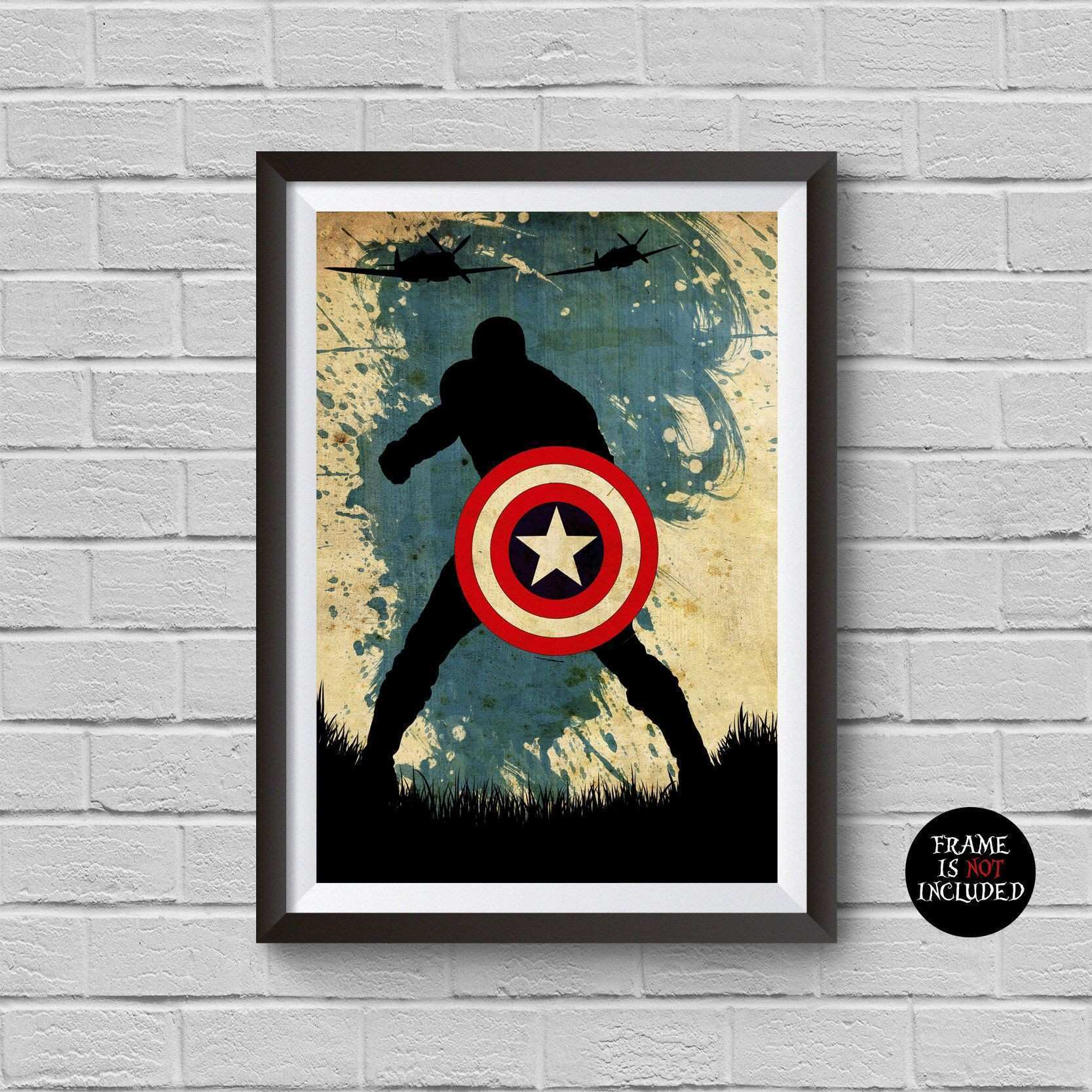 Captain America Minimalist Poster Marvel Movie Print Vintage Retro