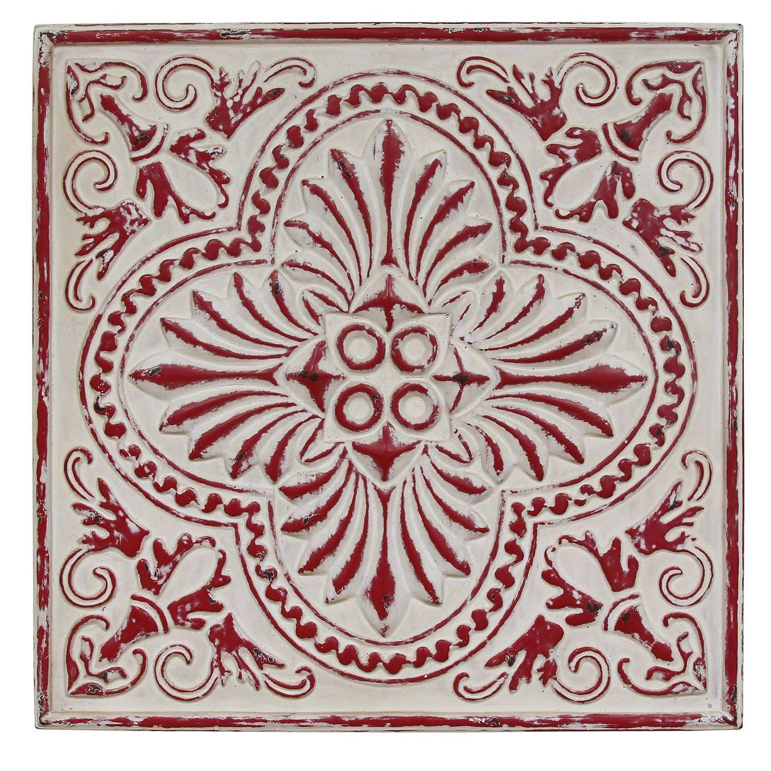 Distressed Square Medallion Wall Décor Global