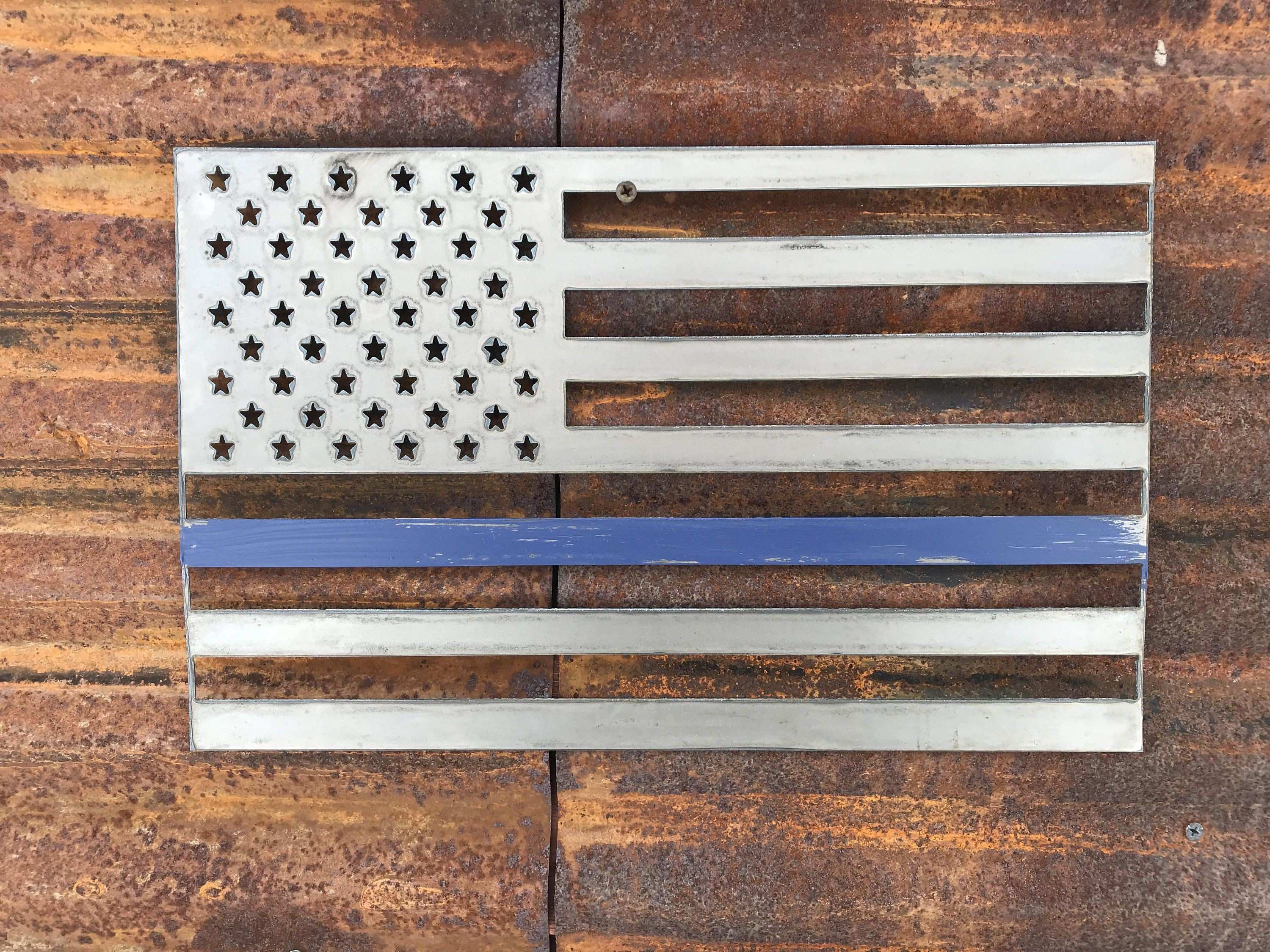 Rustic Metal American Flag Blue line Rustic Flag Sign Rustic Wall