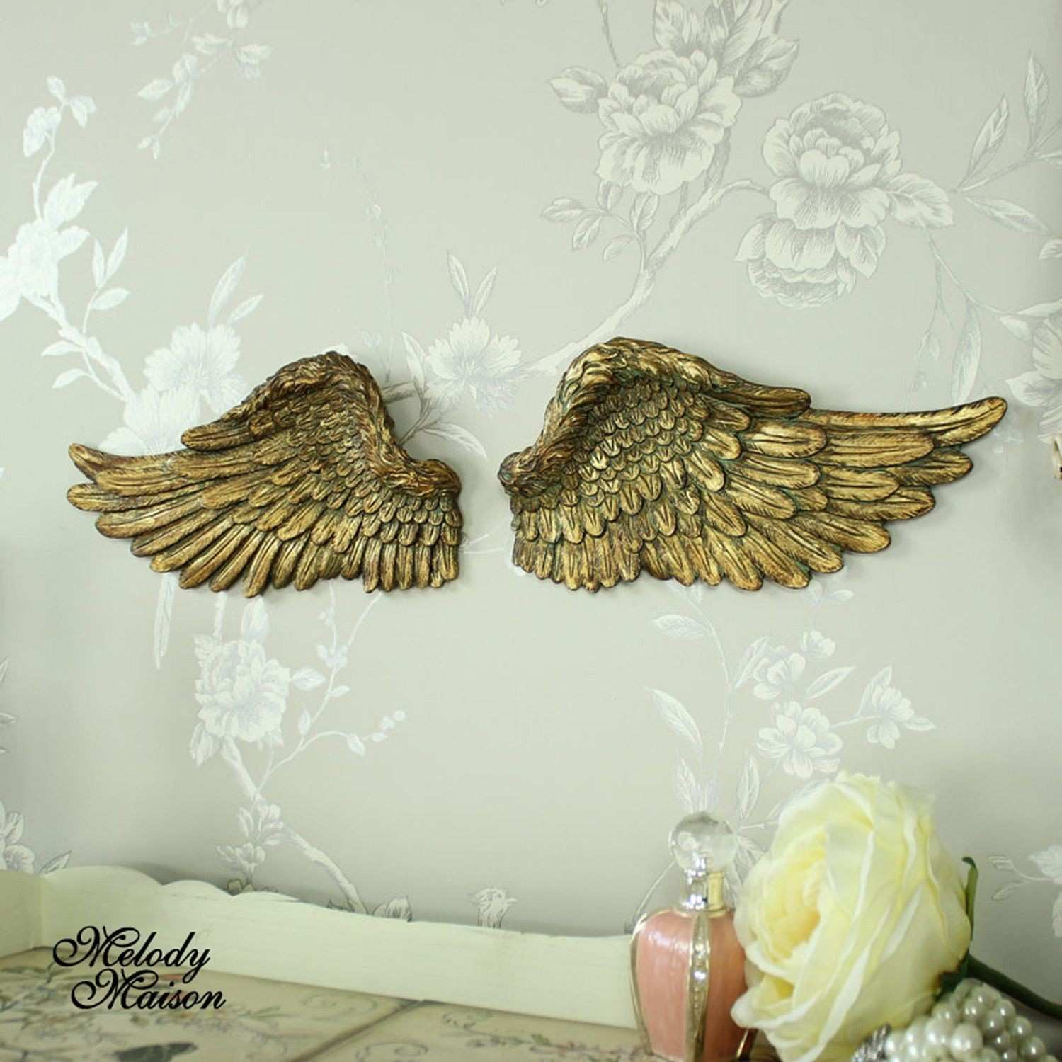 Metal Angel Wings Wall Decor Awesome Pair Small Wall Mounted Gold