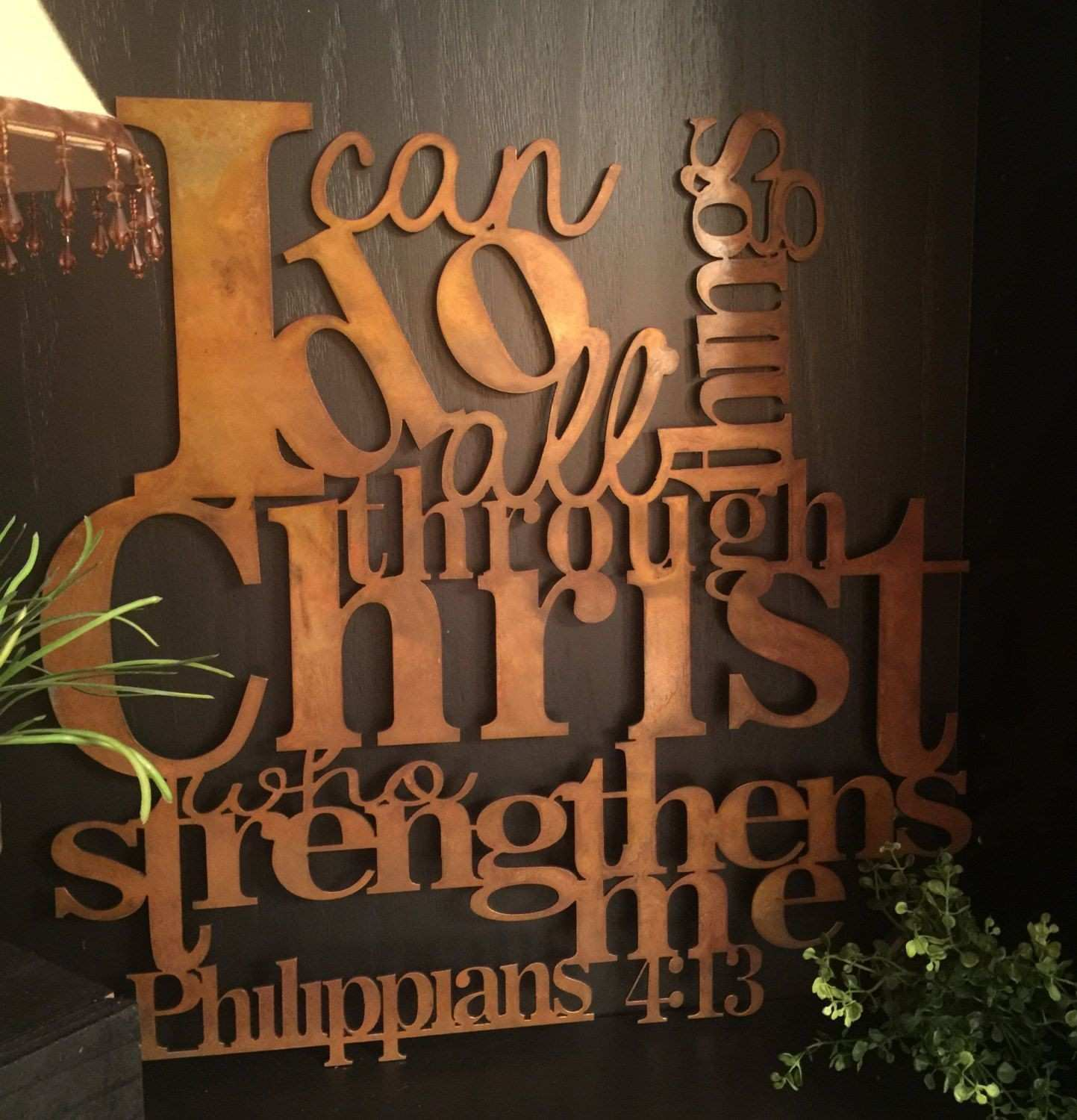 Rusted 21x21 I Can Do All Things Metal Wall Decor Philippians 4 13