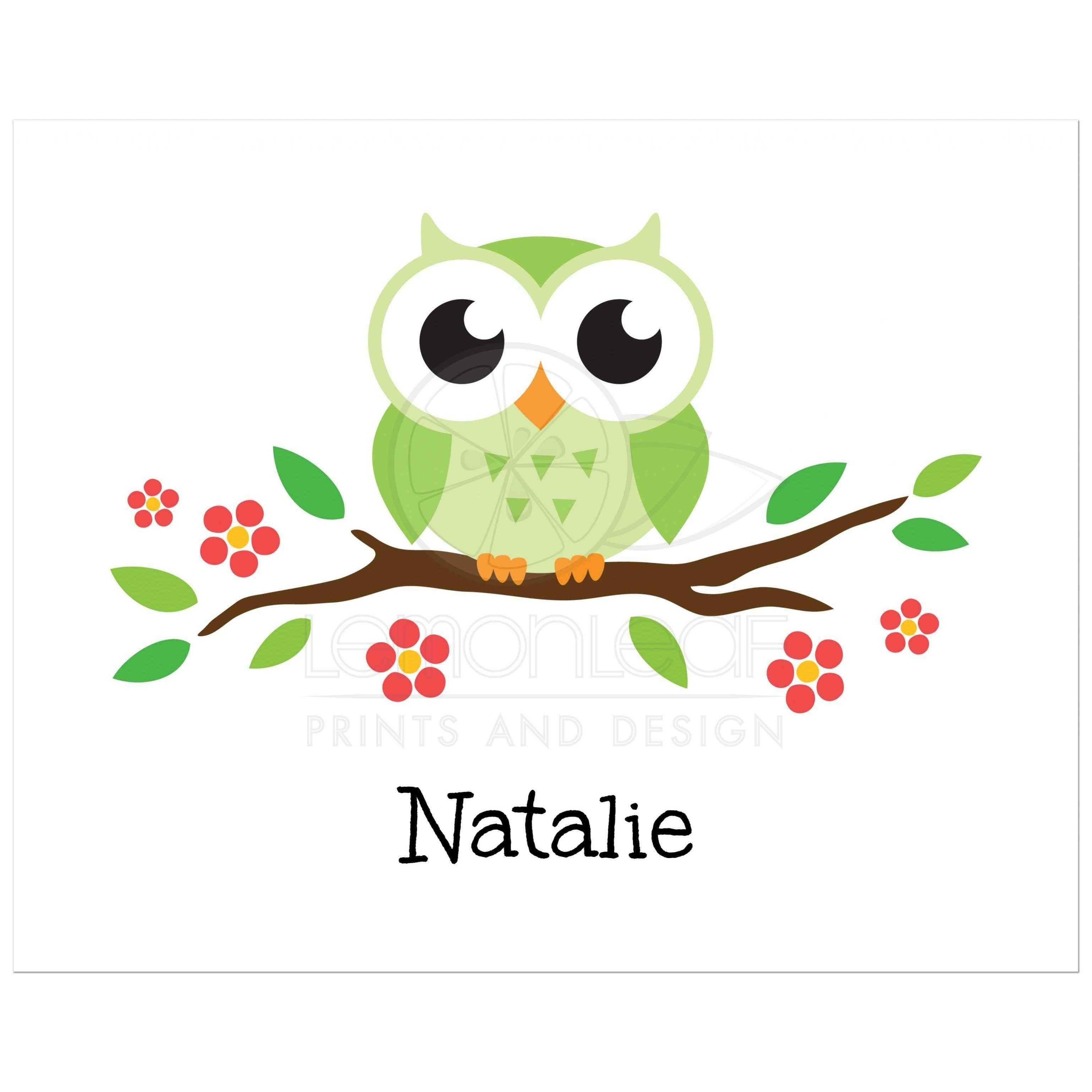 Green owl on flowering branch nursery wall art print for children