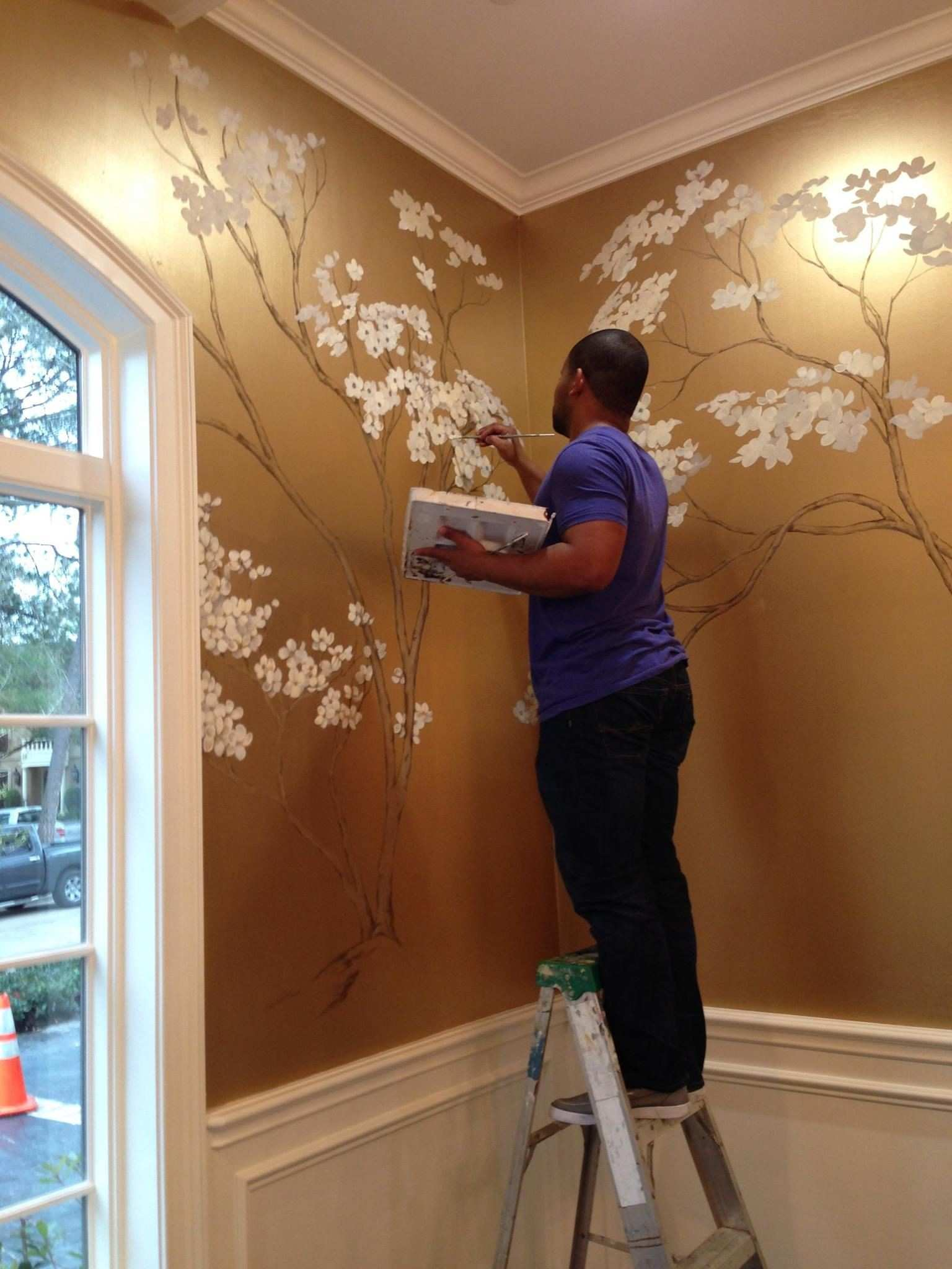 hand painted cherry blossoms on metallic gold wall …