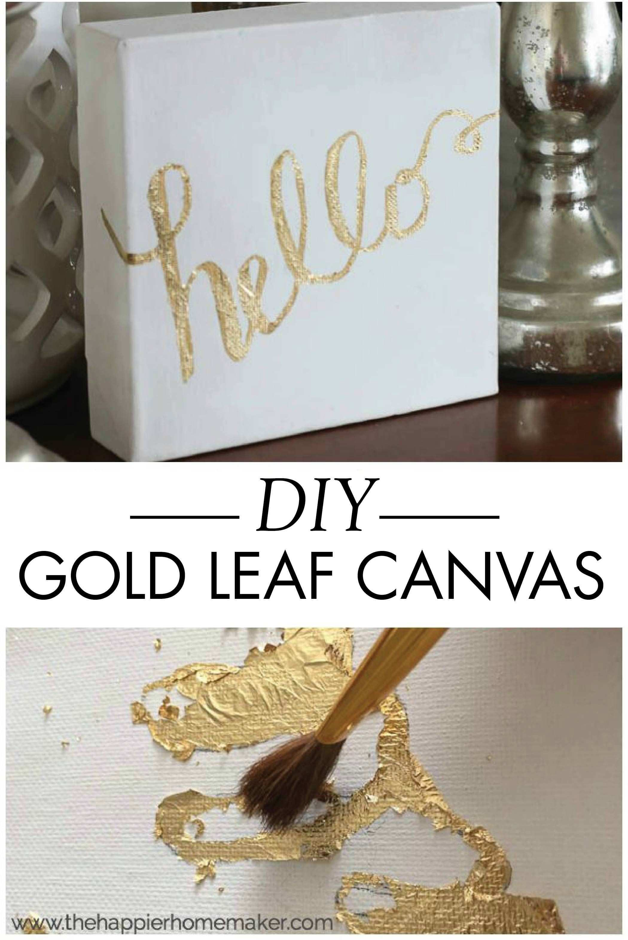 This DIY gold leaf canvas tutorial will teach you how to easily