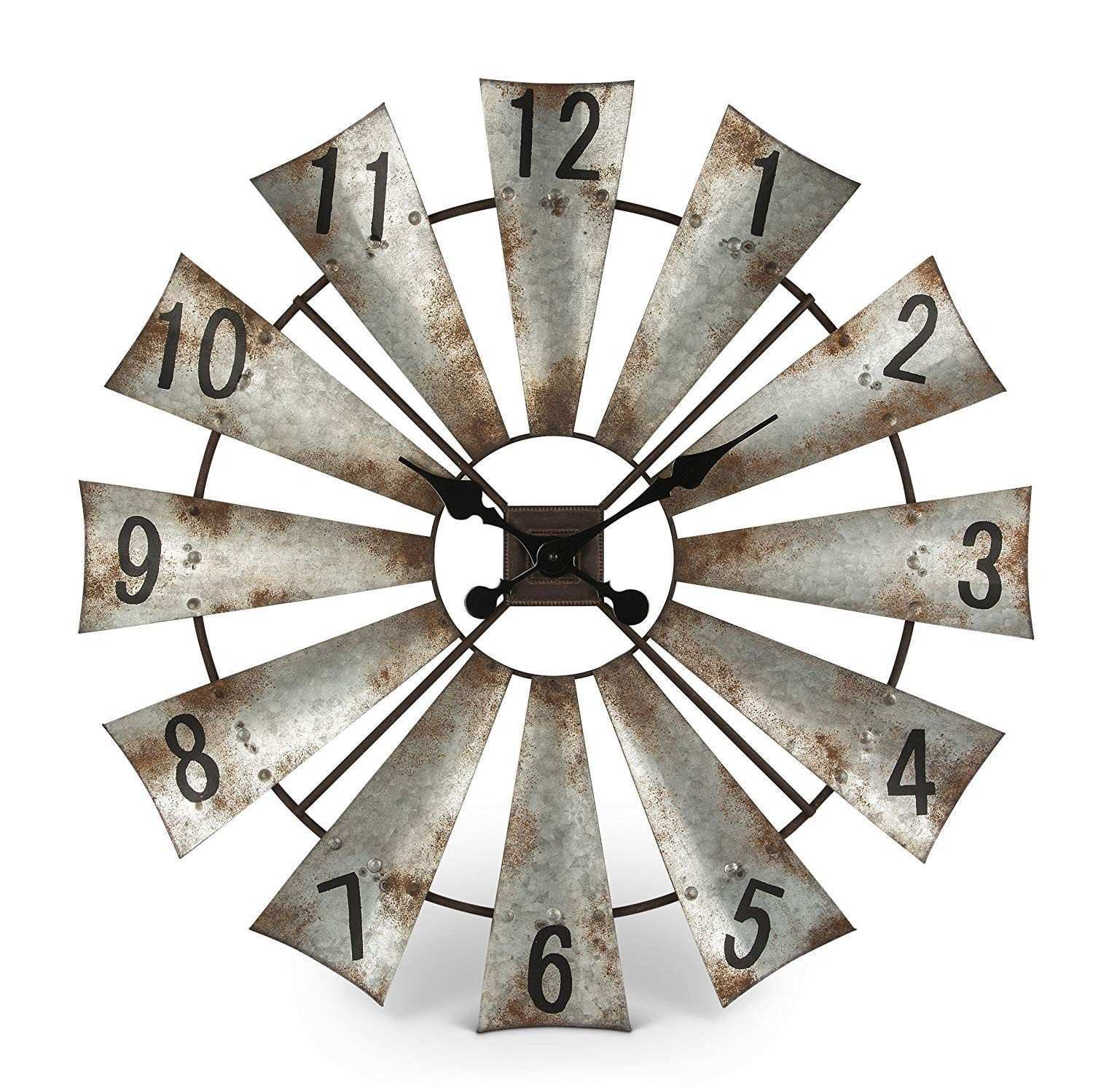 "Amazon Rustic Metal Round Windmill Wall Clock 30"" Home & Kitchen"