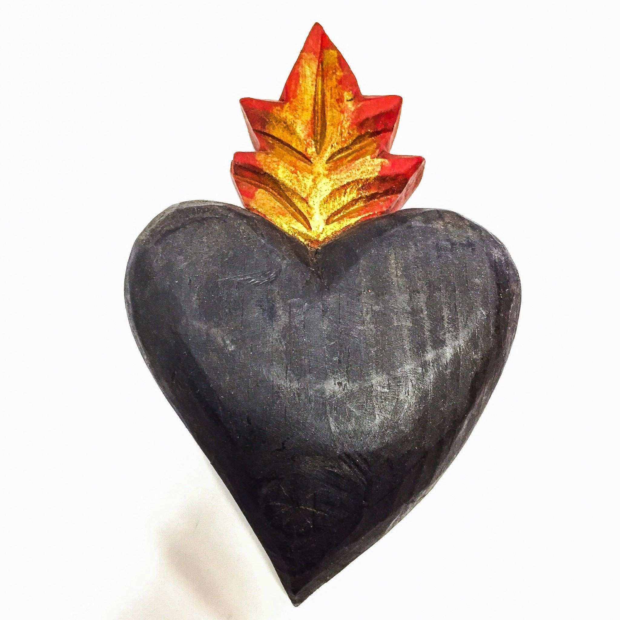 Solid wood heart Hand painted and carved sacredheart love