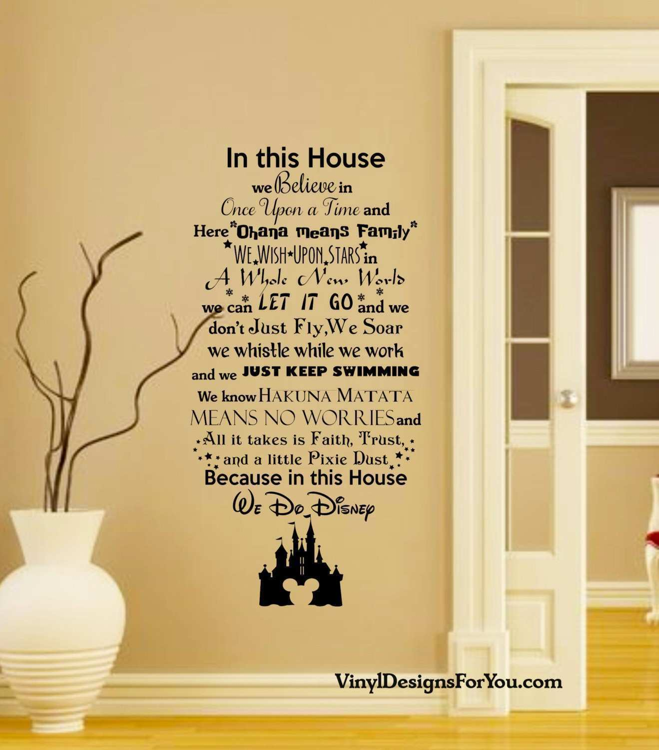 In this House We do Disney Wall Decal with Mickey Mouse house wall
