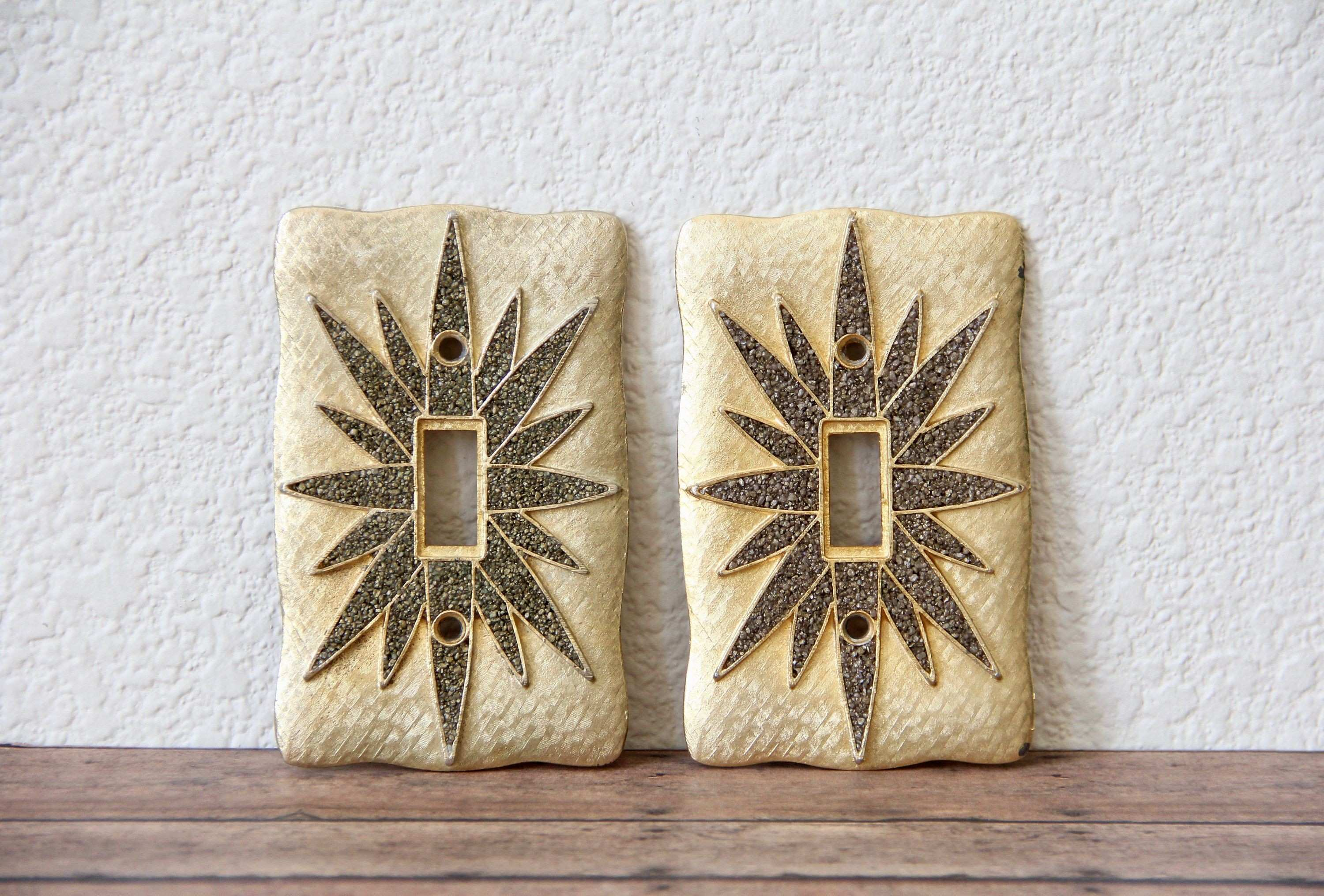 Gold Switch Plate Vintage Gold Switch Plates Mid Century Wall